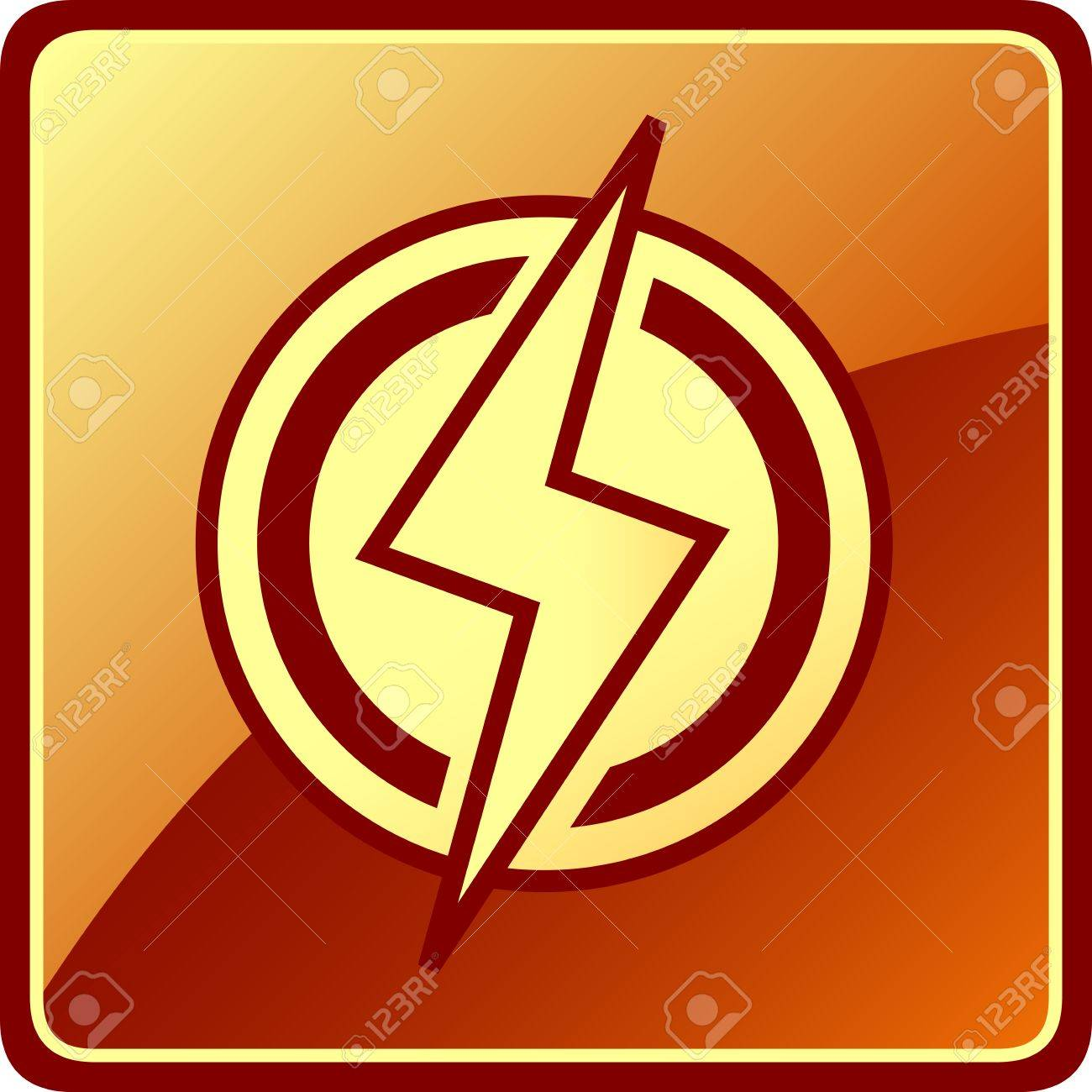 Yellow Isolated Power Icon. Electrician Modern Symbol Royalty Free ...