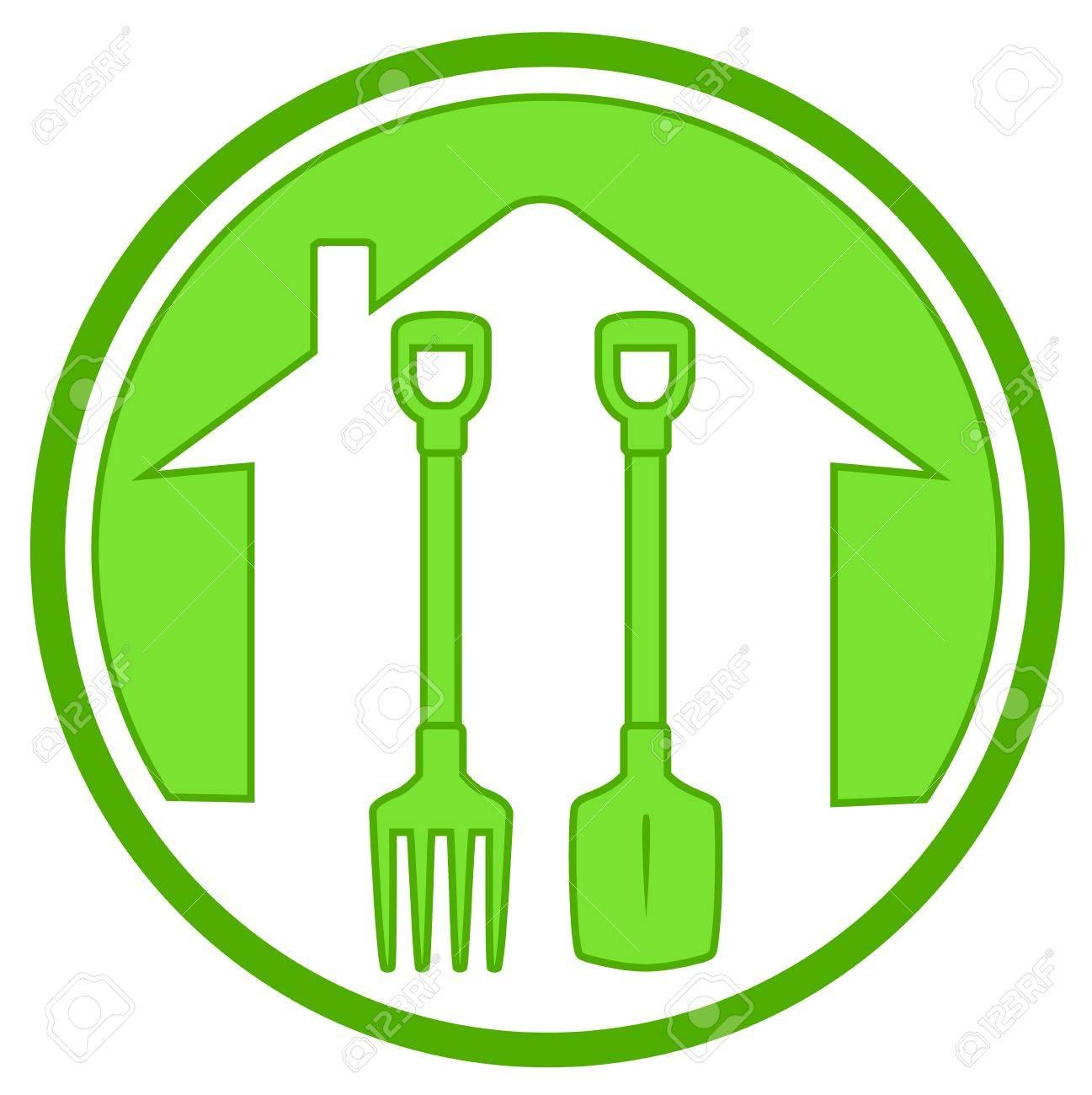 Icône Verte Avec La Maison Silhouette Et Outils De Jardinage Clip ...
