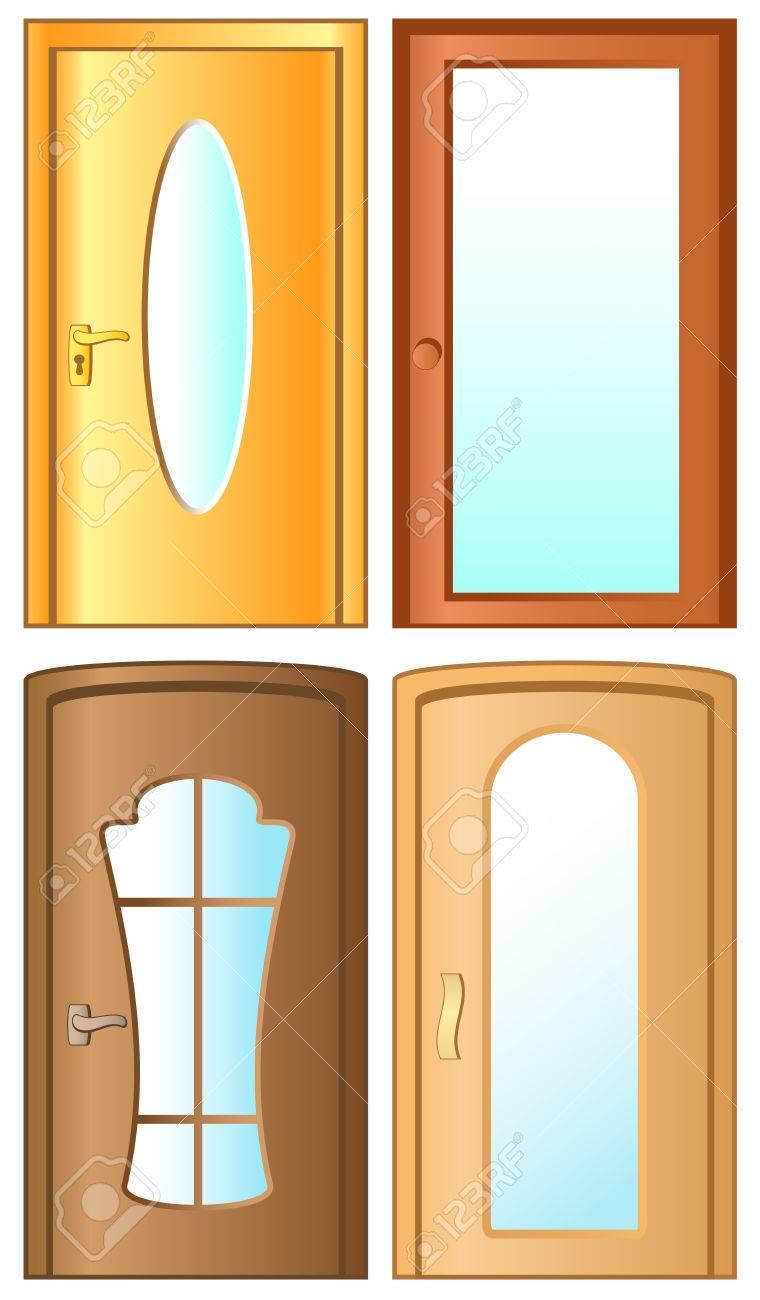 Les Portes Modernes poser les portes vitrées modernes isolé sur fond blanc clip art