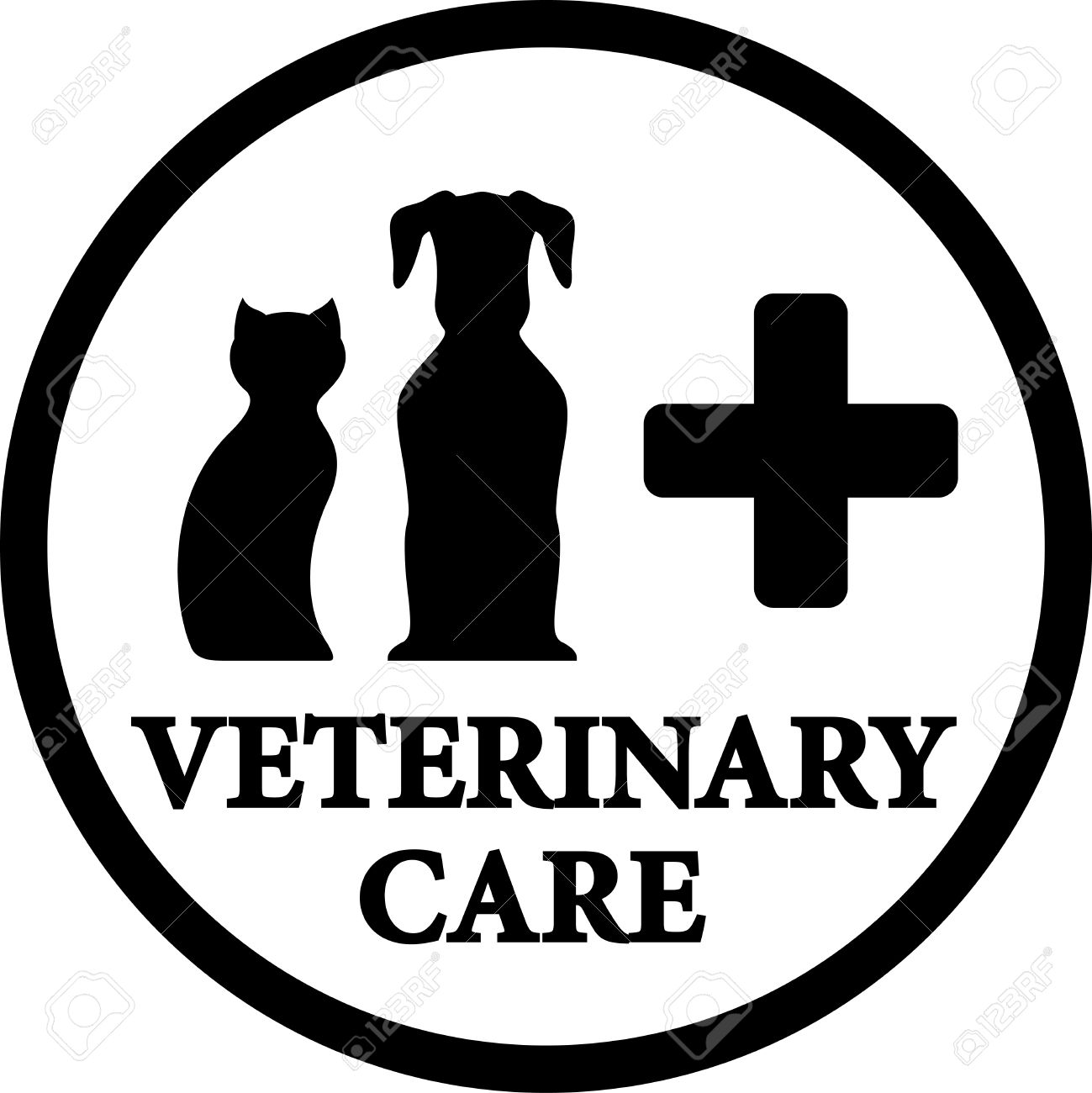 Black Round Isolated Veterinary Medicine Icon With Dog And Cat ...