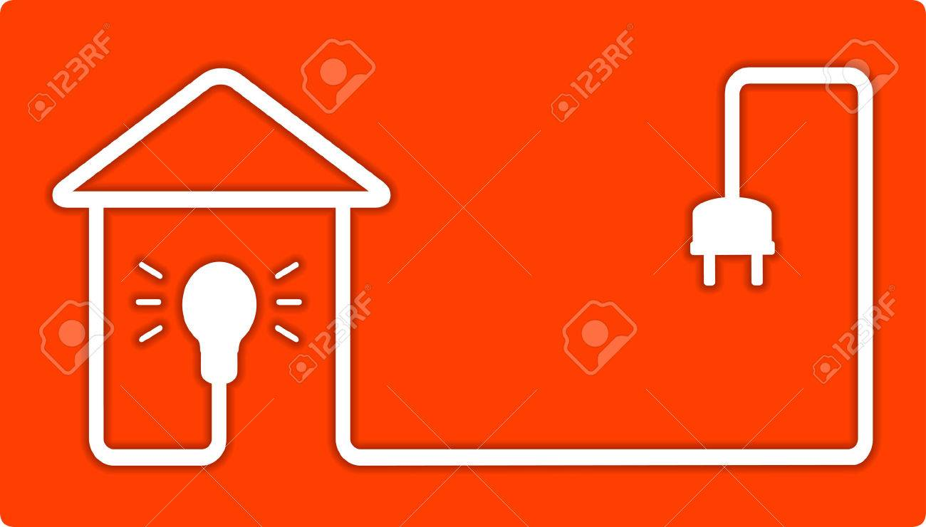 Hintergrund Für Hauptbeleuchtung Mit Elektrischer Lampe Und Haus Silhouette  Standard Bild   38908819