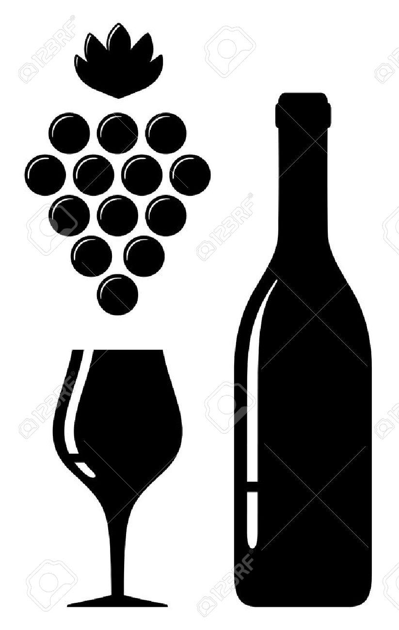 Icône noire avec verre de vin et une bouteille silhouette
