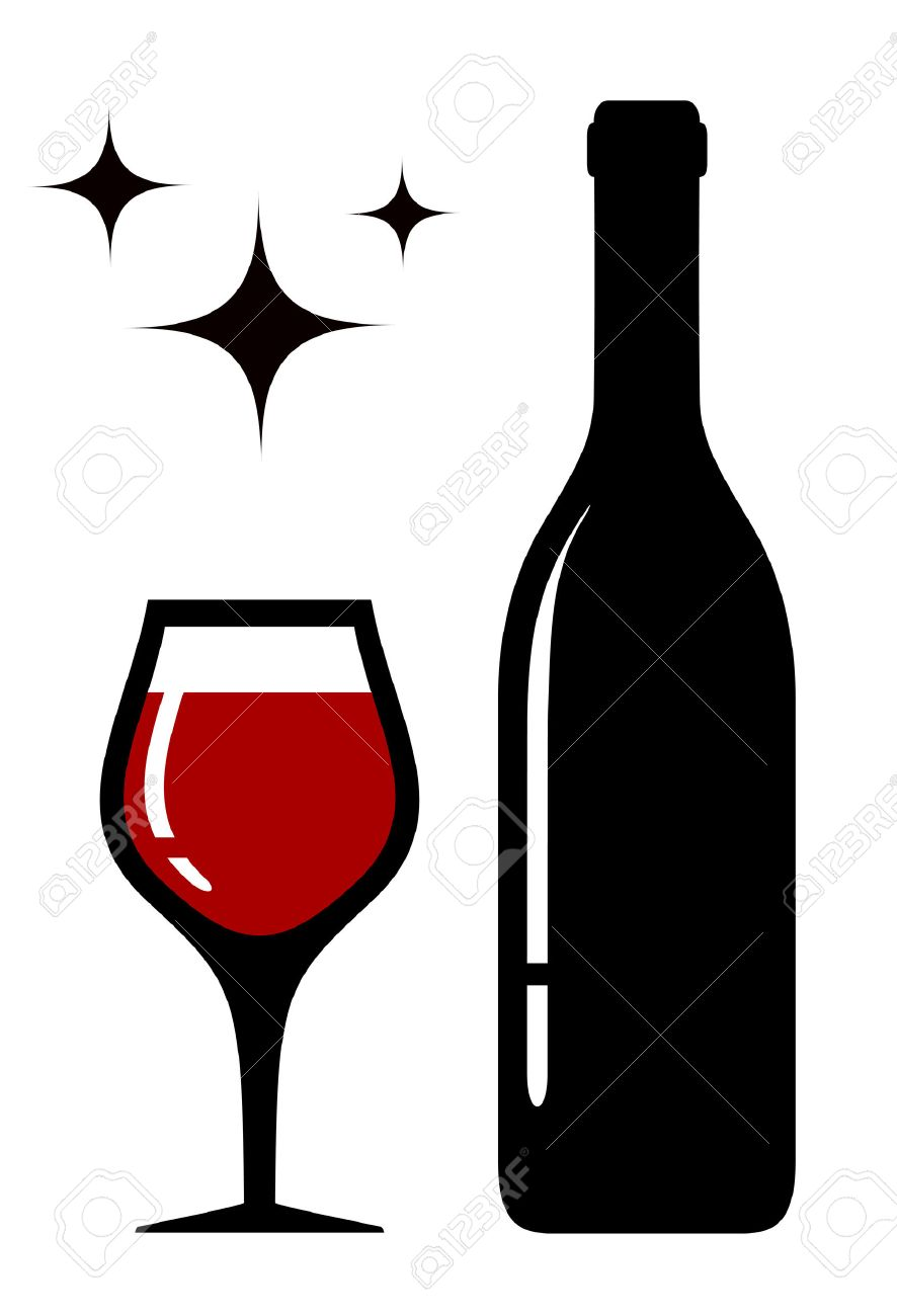 Wine Glass And Bottle Silhouette With Star Royalty Free Cliparts