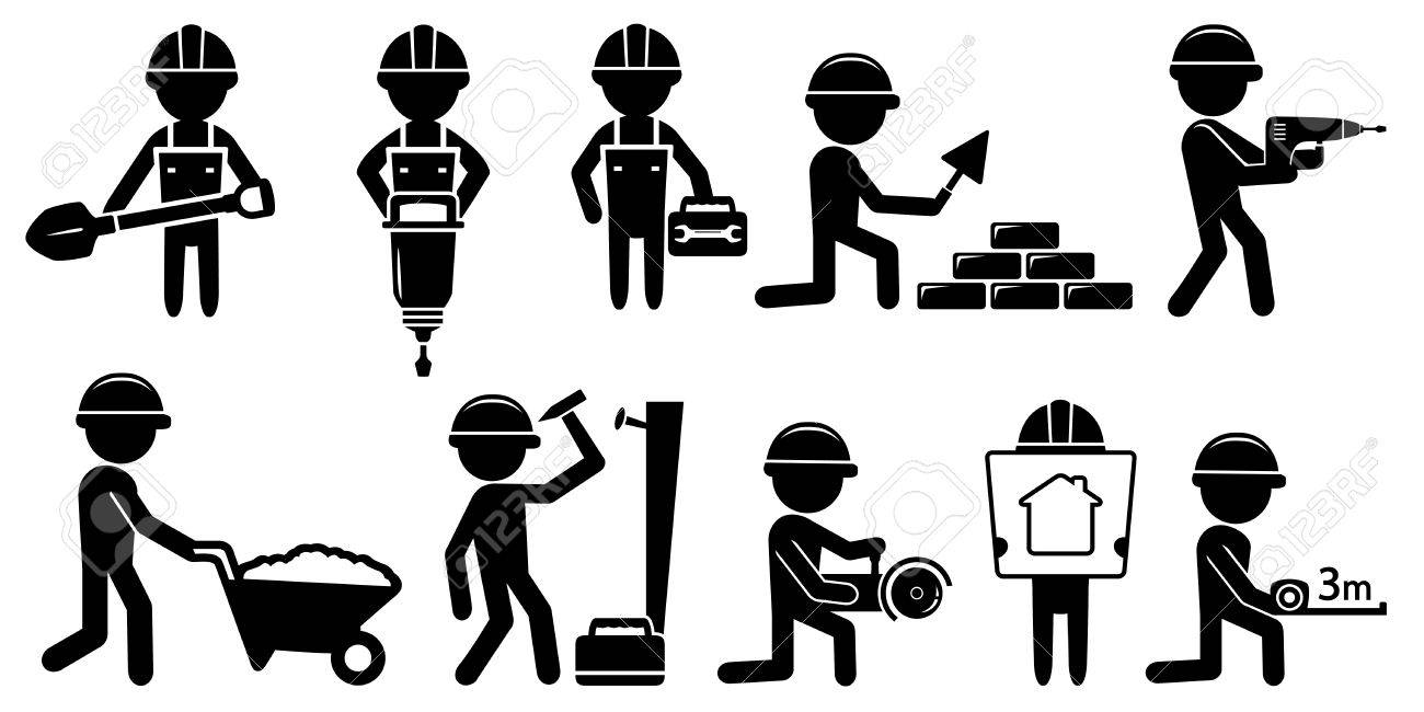 black isolated builders set with tools on white background - 42836140