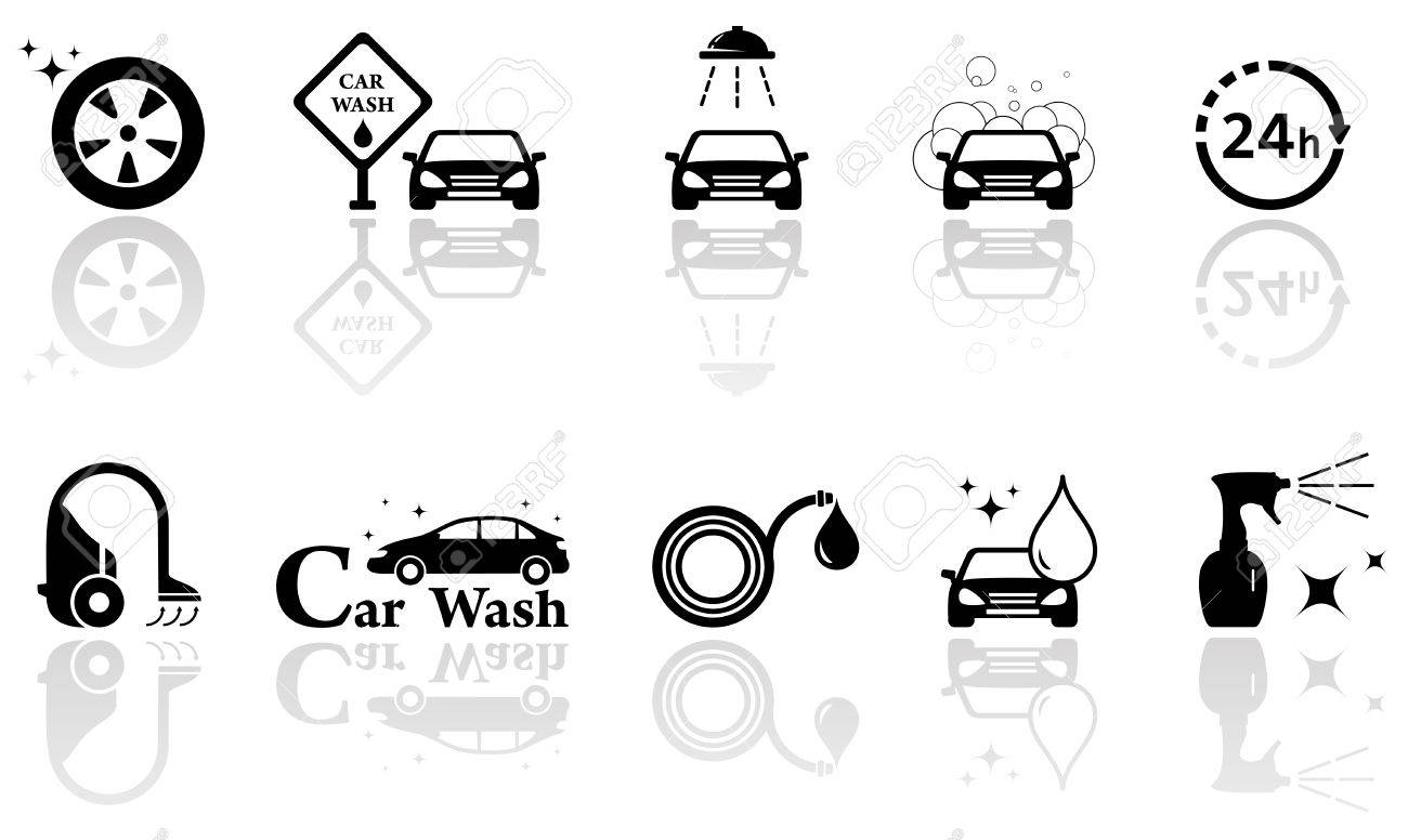 Black Silhouetteicons With Car Wash Isolated Objects Set Royalty