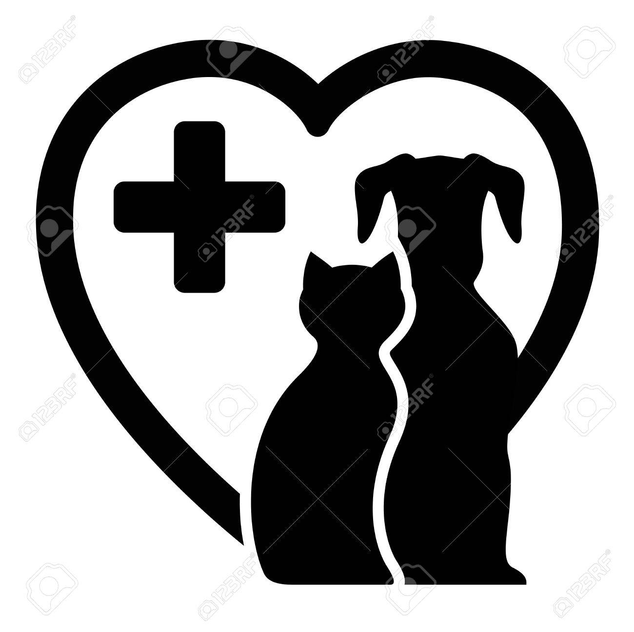 black icon with dog and cat on heart silhouette for veterinary services - 49175068
