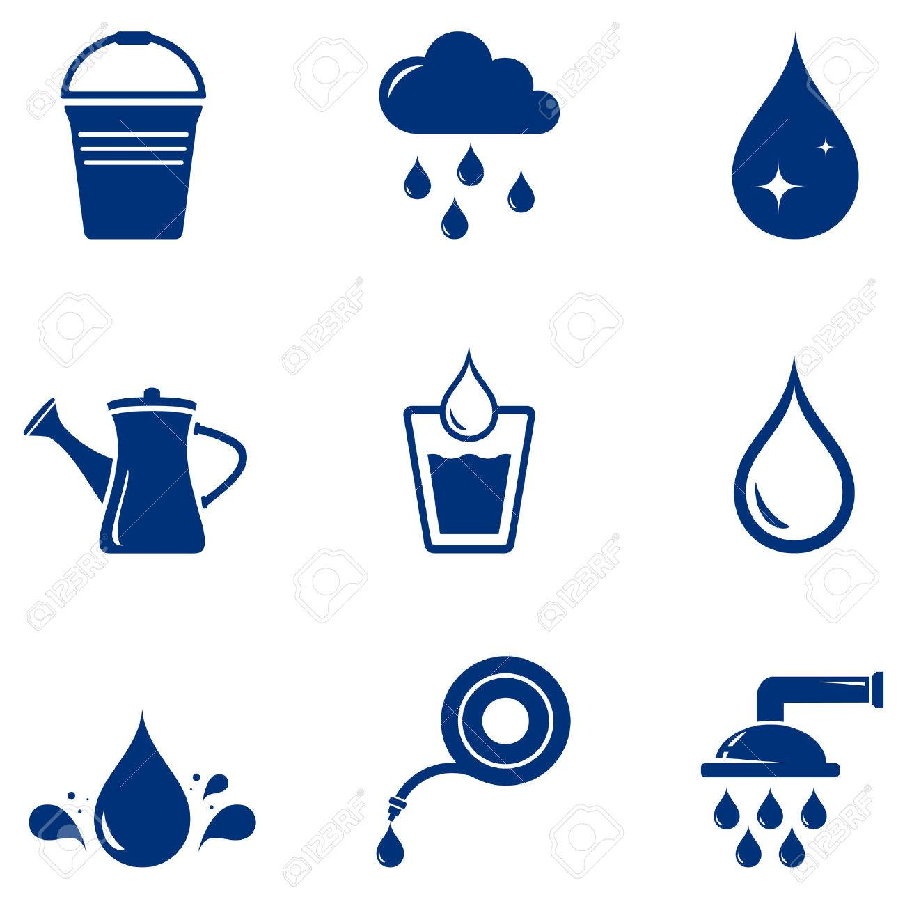 set blue isolated watering icons on white background - 50001993