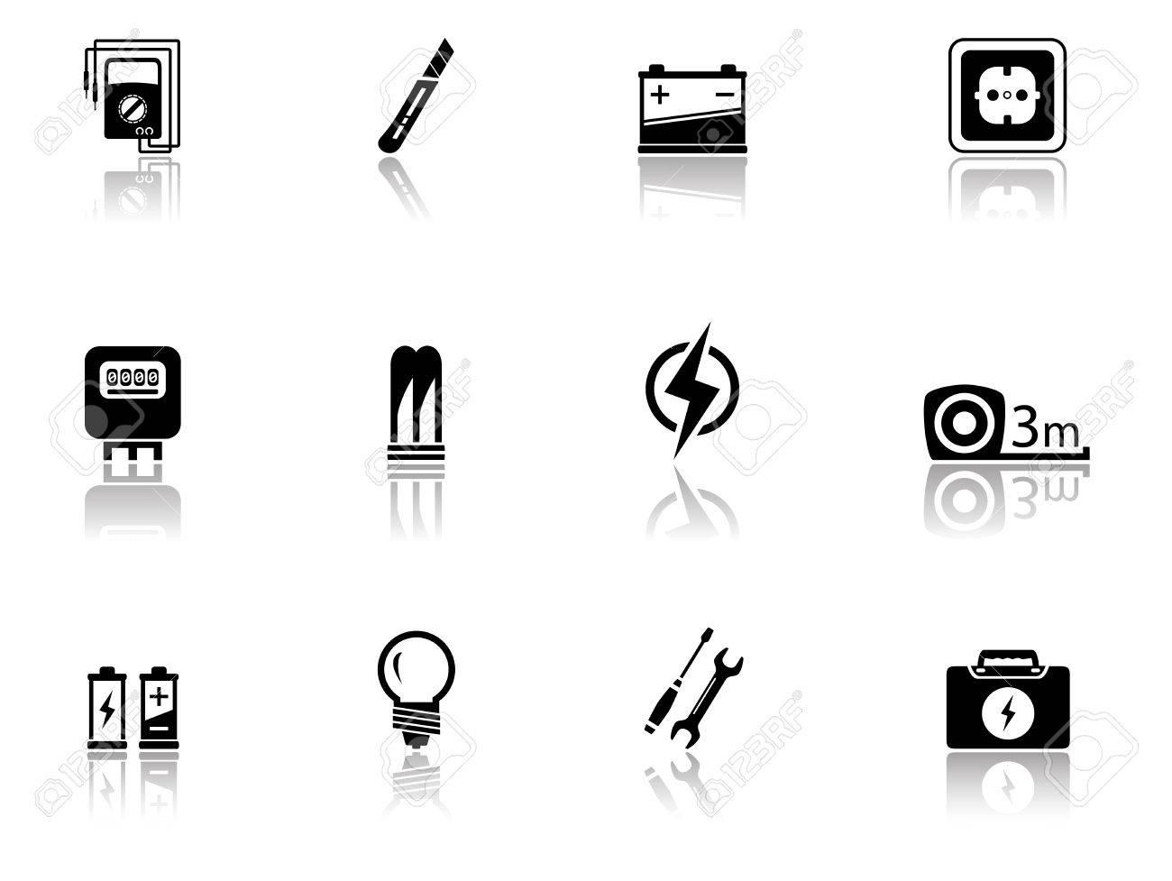 Un Conjunto De Material Eléctrico Aislado Negro Objetos