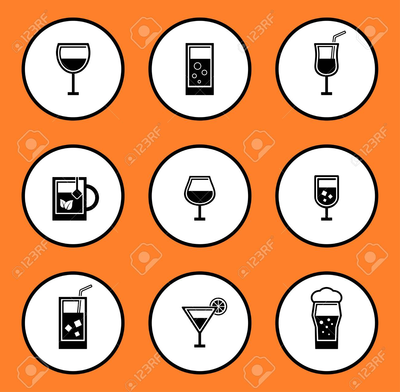 black glassful icon set for water or alcohol beverage on white background - 51010761