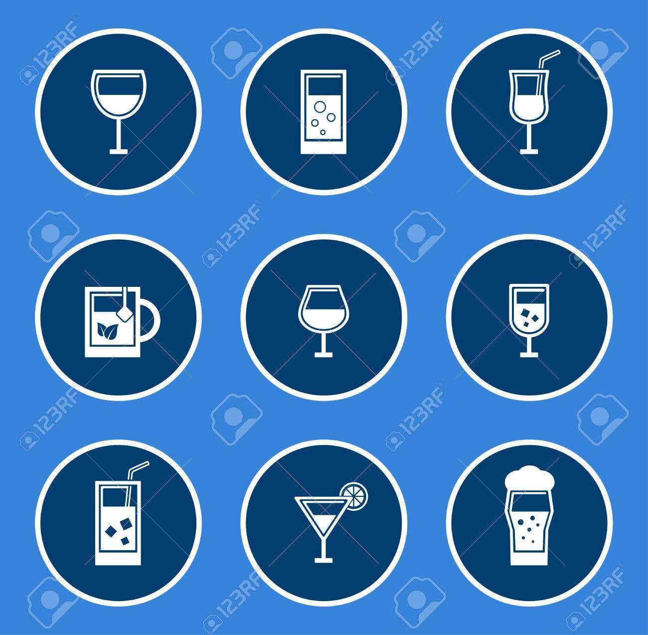 round glasses icon set on blue background - 51308236