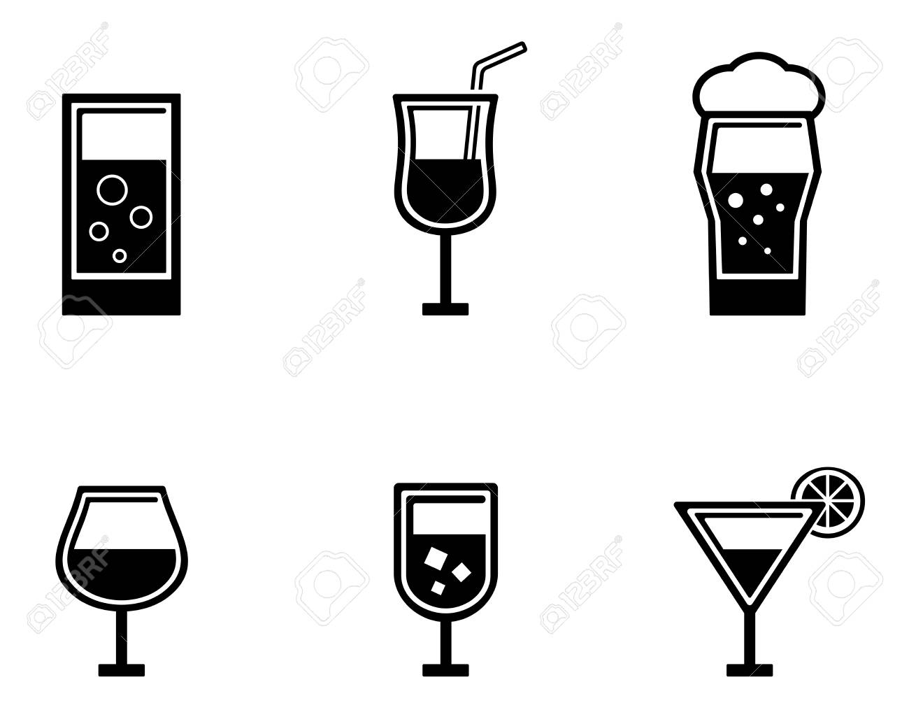 set of six black isolated glasses icons - 52574004