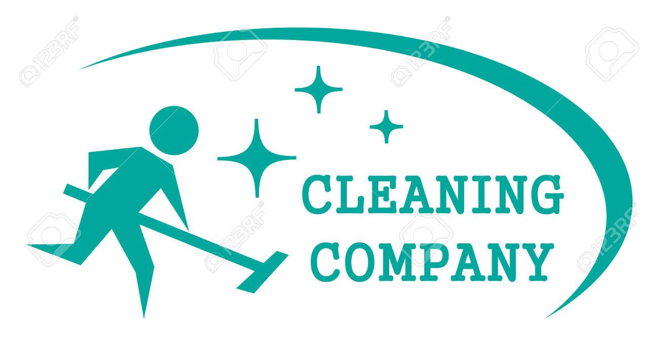 blue cleaning symbol with cleaner man on work - 55067128