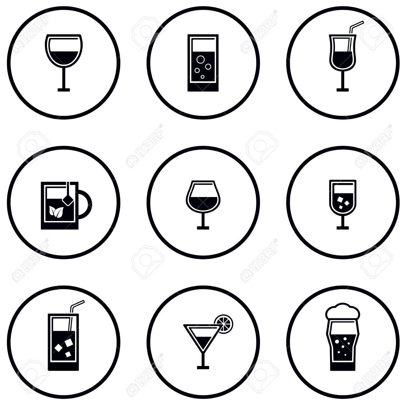 round glass and goblet icon set on white background - 55068189