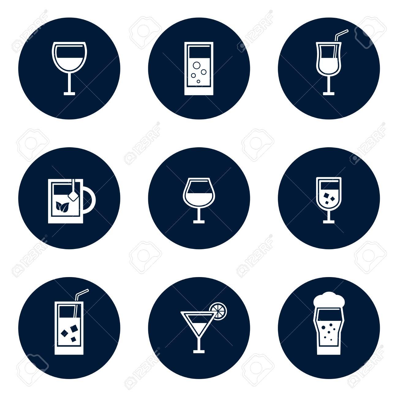set of blue isolated round glasses icons - 60163715