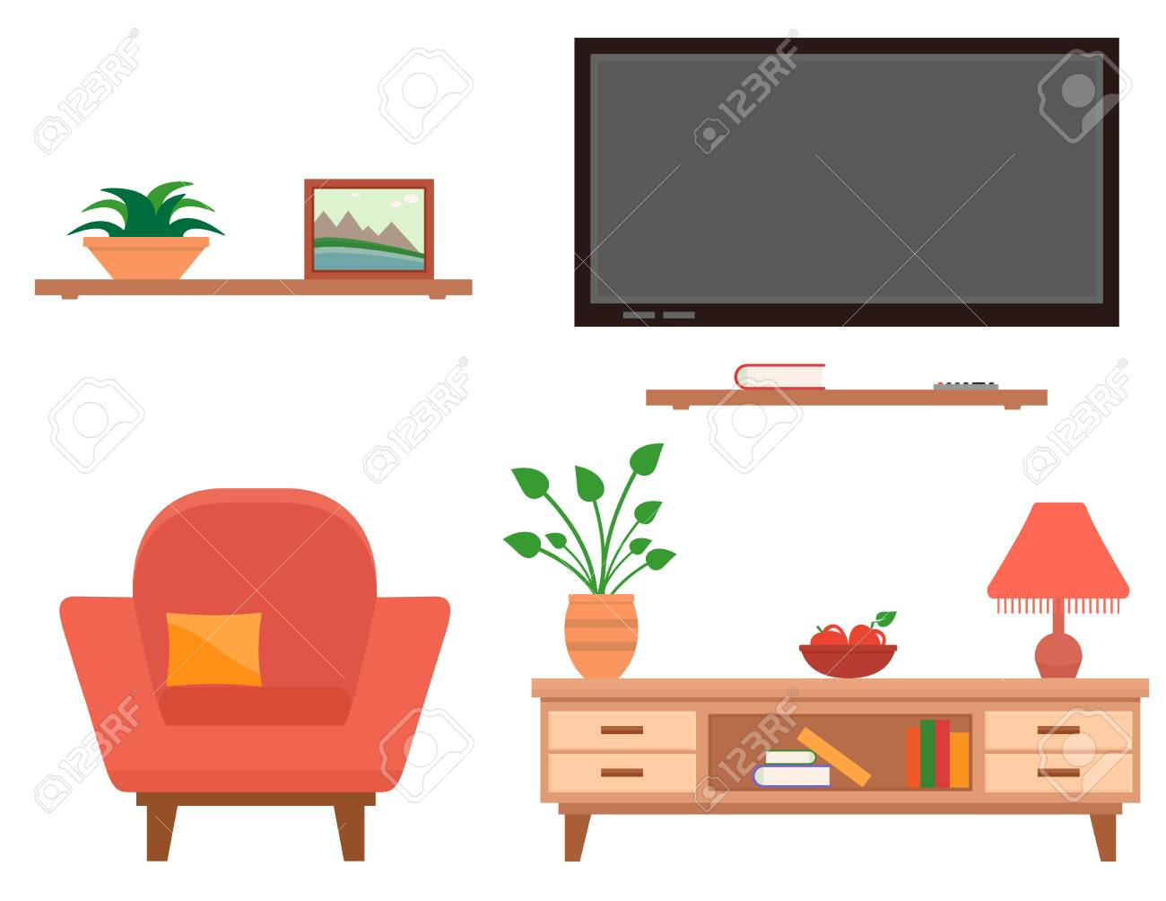 Living Room Furniture Set Royalty Free Cliparts Vectors And Stock