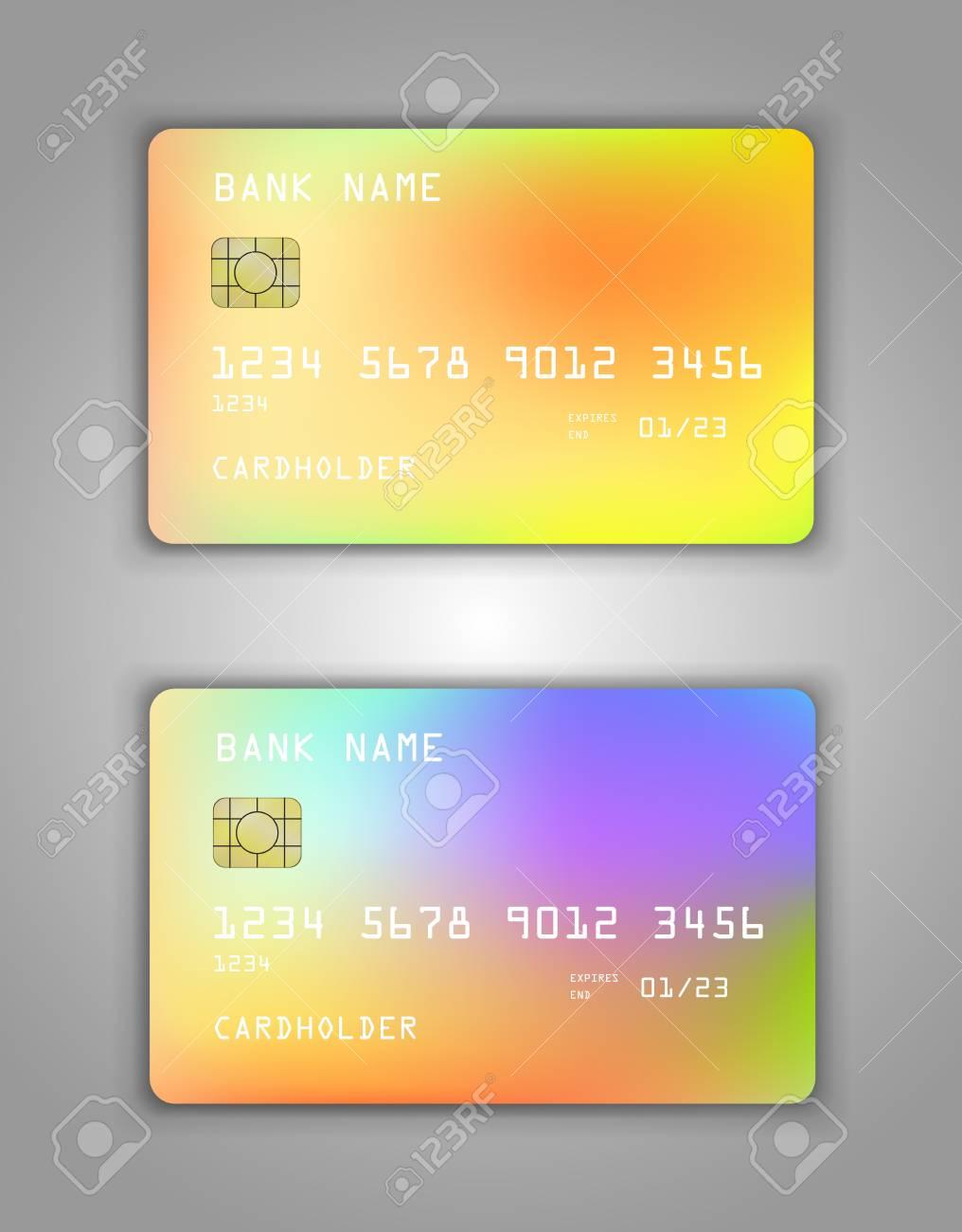 Carte Bancaire Jaune.Vecteur Defini Maquette De Carte De Credit Bancaire Realiste Motif En Spirale Degrade Multicolore Couleurs Arc En Ciel Jaune Rouge Bleu Vert