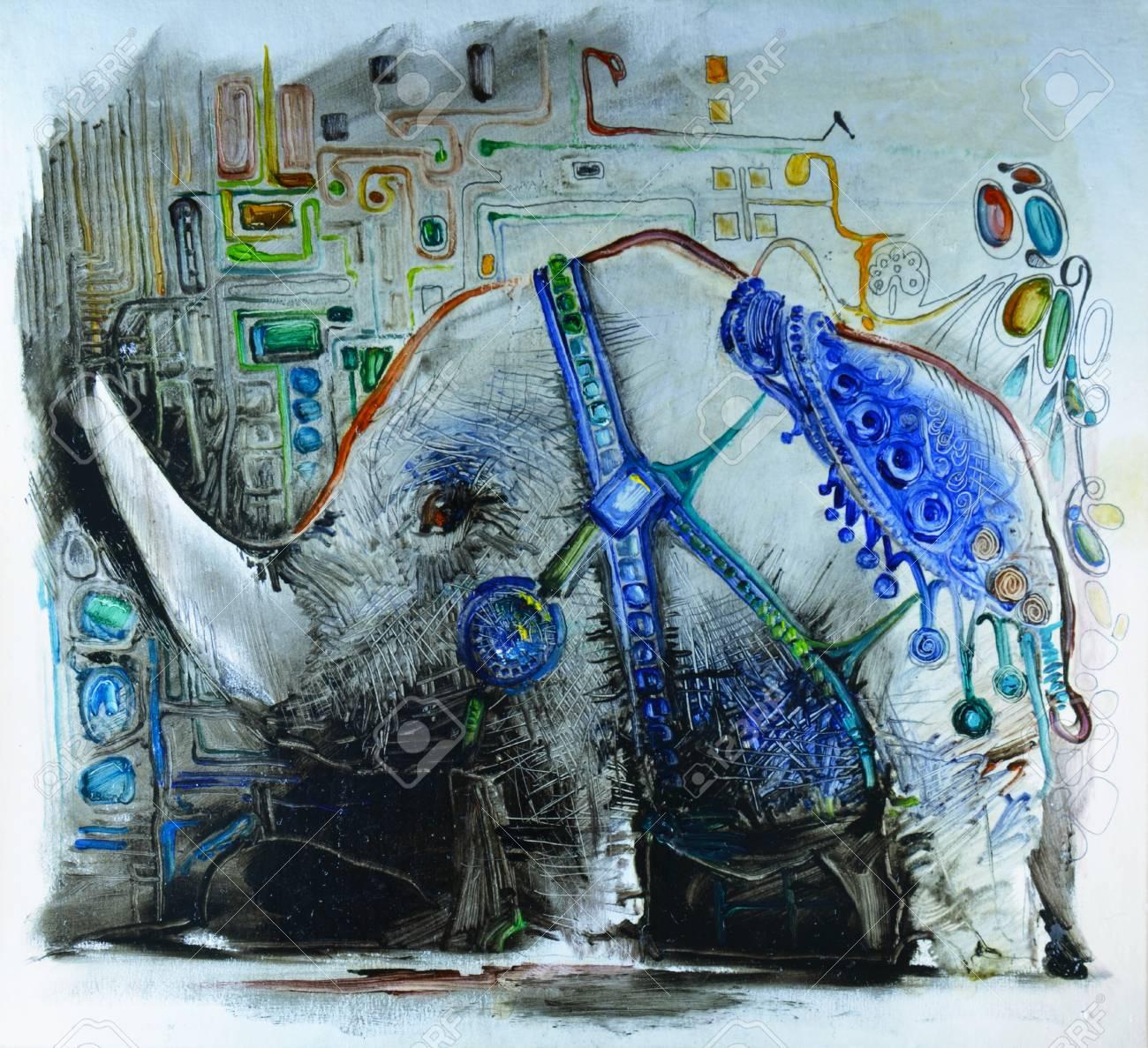 Un Asombroso Animal Pintado. Elefante, Rinoceronte Pintura. Patrón ...