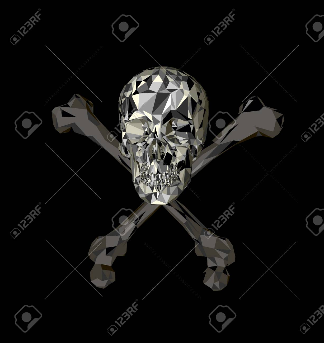 Skull With Bones On A Black Background Print Clothes Triangle