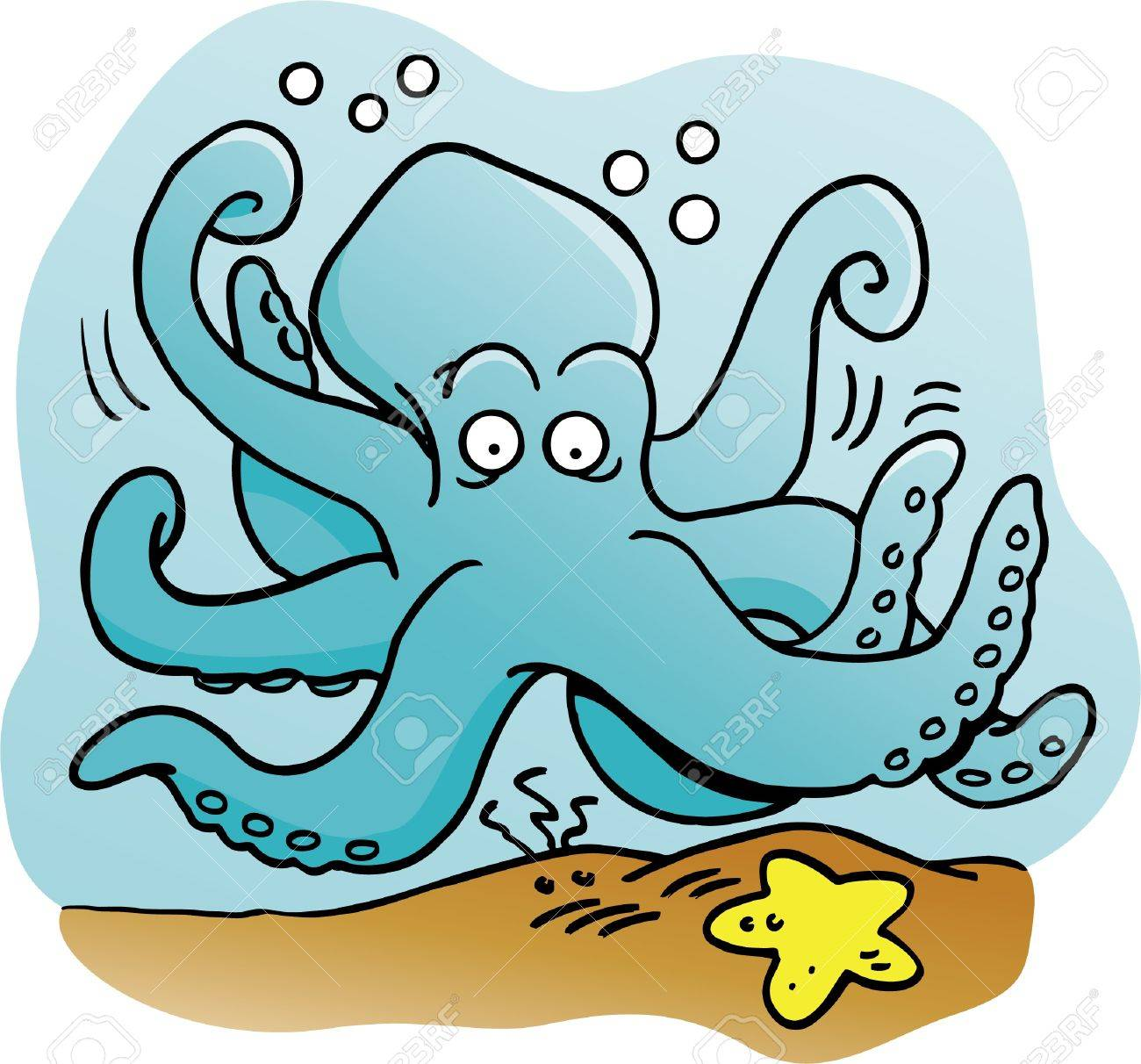 Cartoon Illustration Of An Octopus Royalty Free Cliparts, Vectors ...