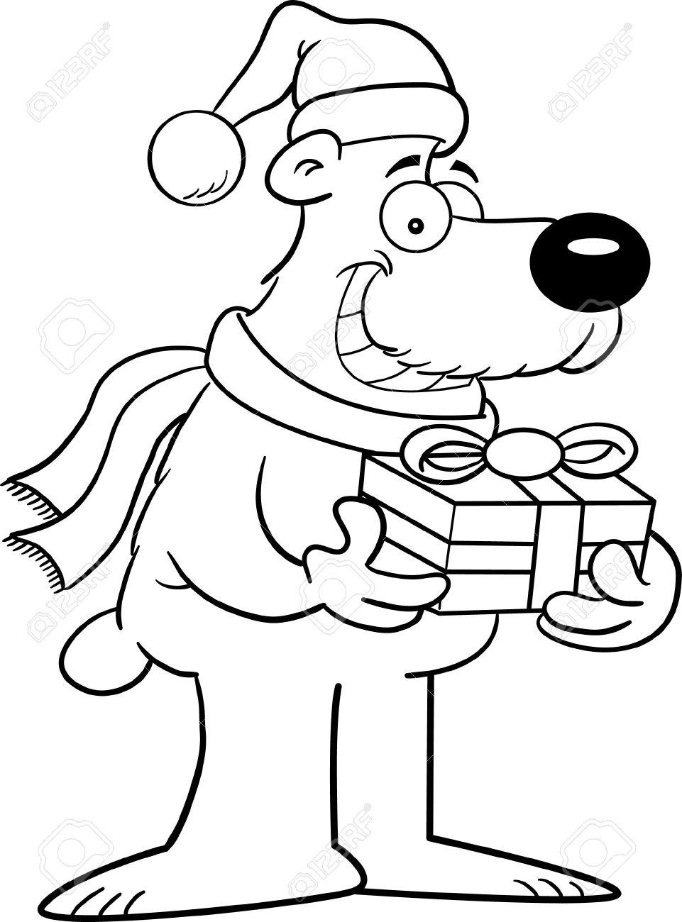 Cartoon Ilustración De Un Oso Polar De Una Página Para Colorear