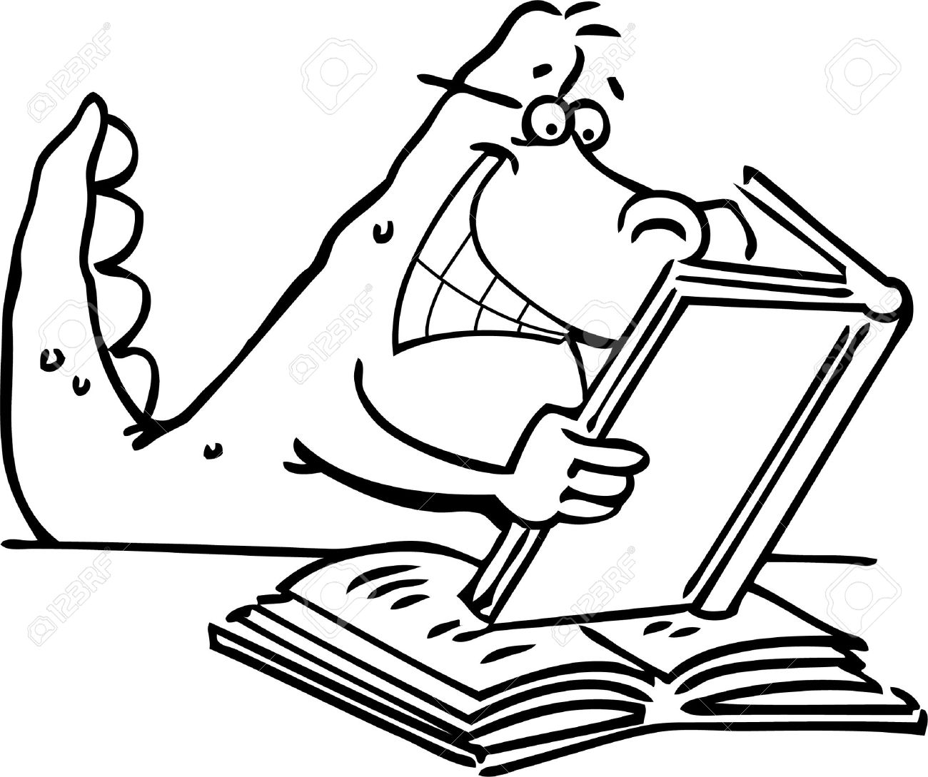 Cartoon illustration of a dinosaur reading a book for a coloring page Stock Vector - 14085316