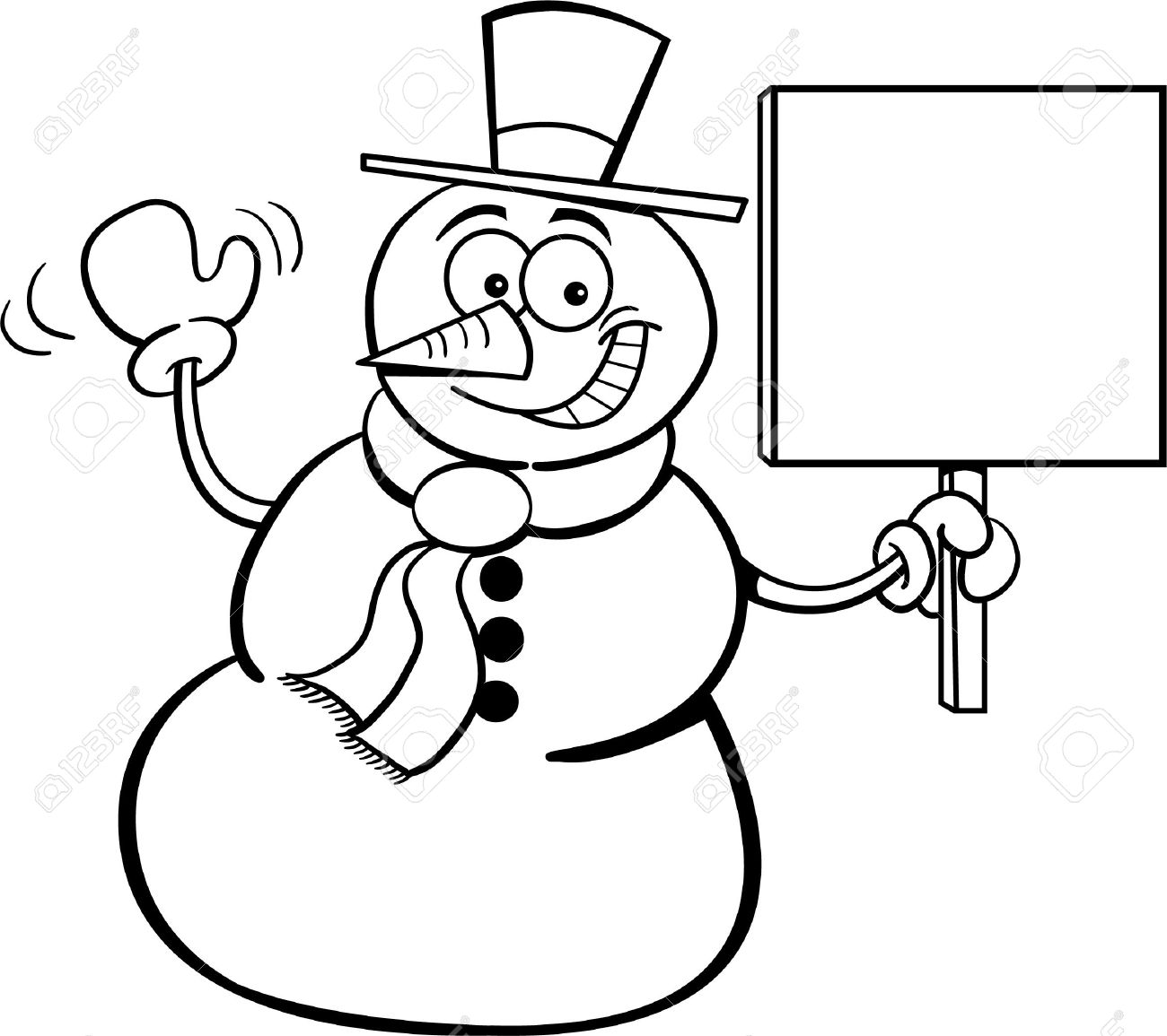 Snowman holding a sign for a coloring page Stock Vector - 14085317