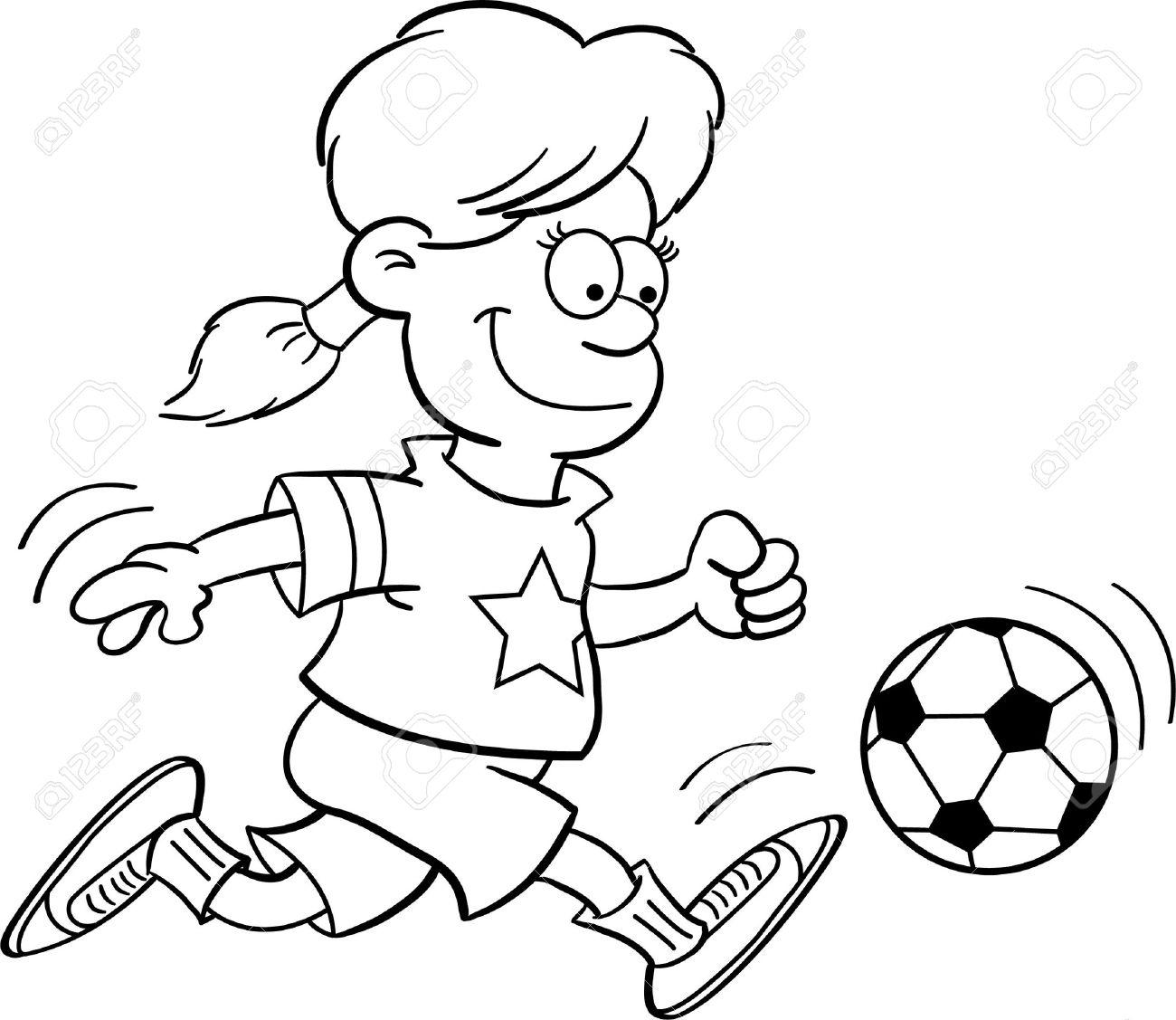 Ilustración En Blanco Y Negro De Una Niña Jugando Fútbol ...