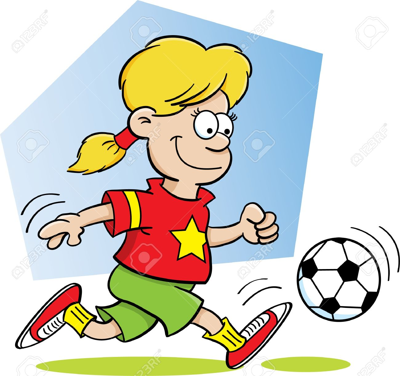 Cartoon Illustration of a Girl Playing Soccer Stock Vector - 14096431