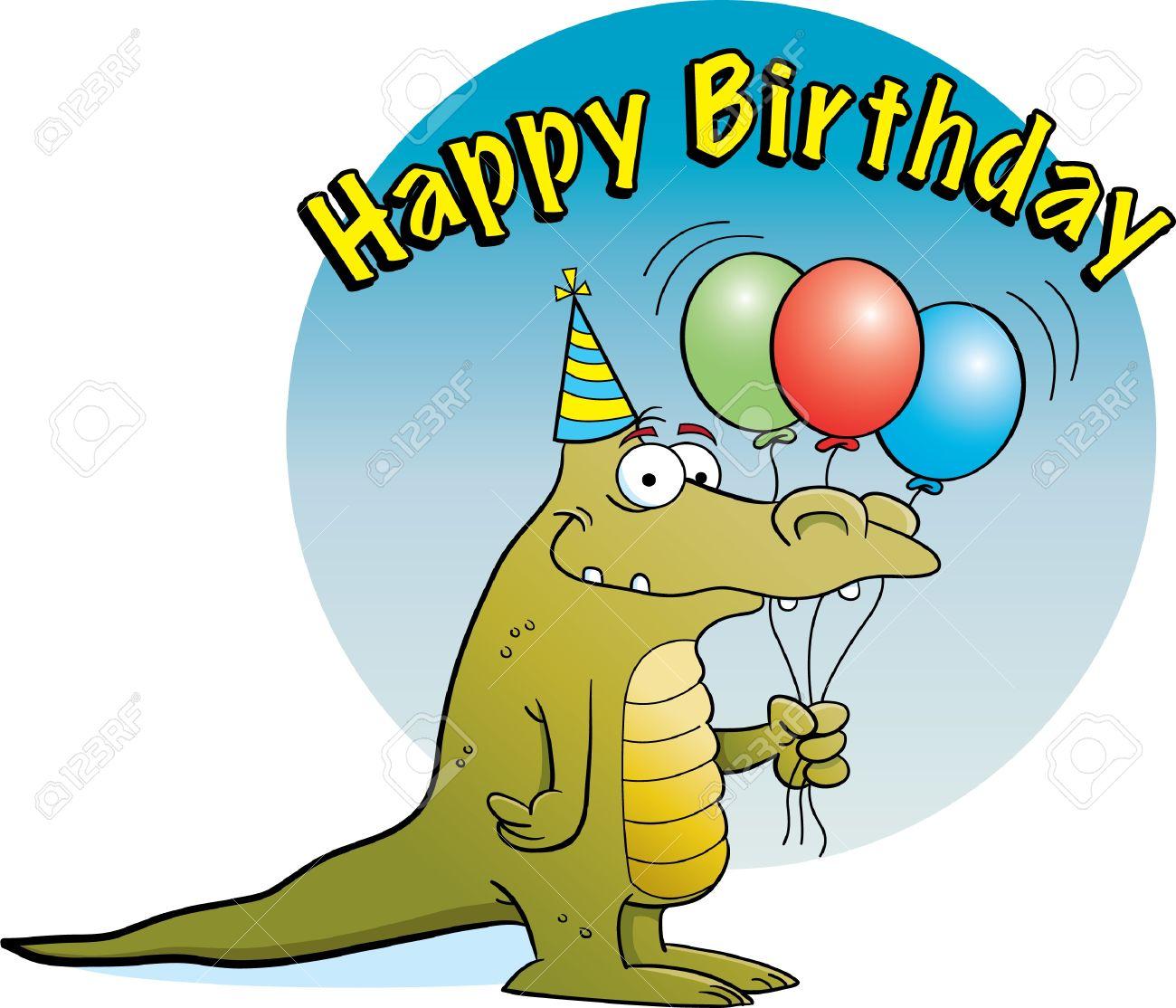 Alligator Holding Balloons Stock Vector - 14182791