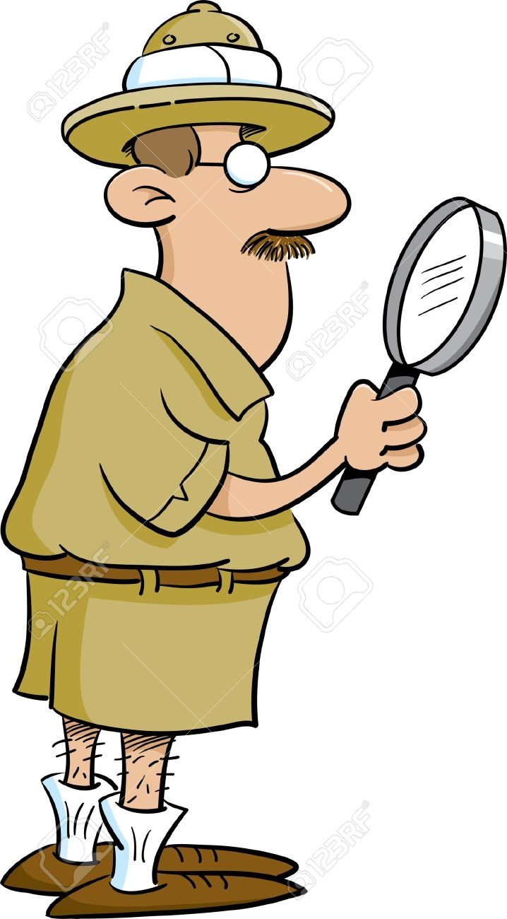 Explorer Holding A Magnifying Glass Stock Vector