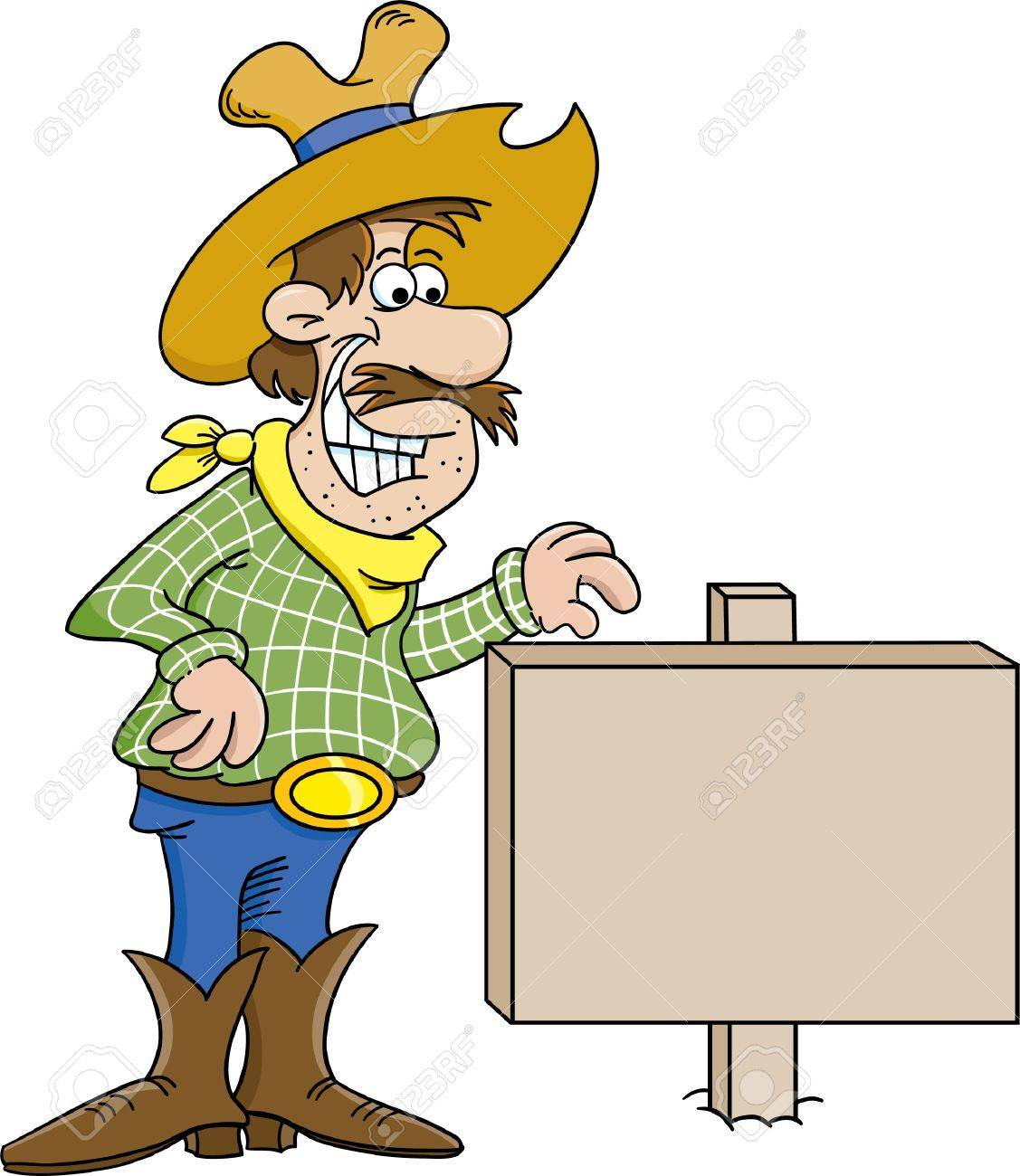 Cartoon illustration of a cowboy with a sign Stock Vector - 14413544