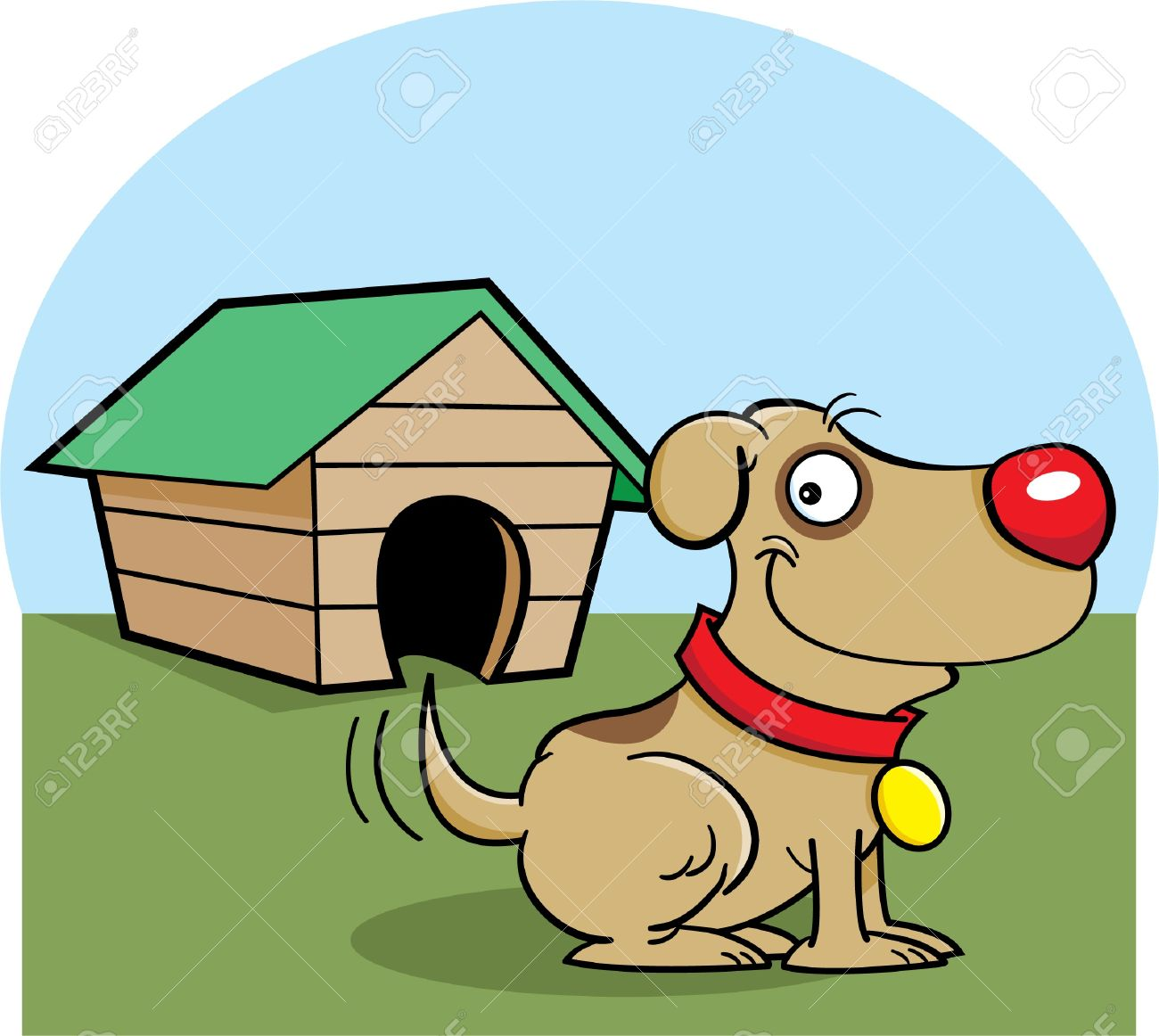 Cartoon illustration of a dog with a dog house Stock Vector - 14662352