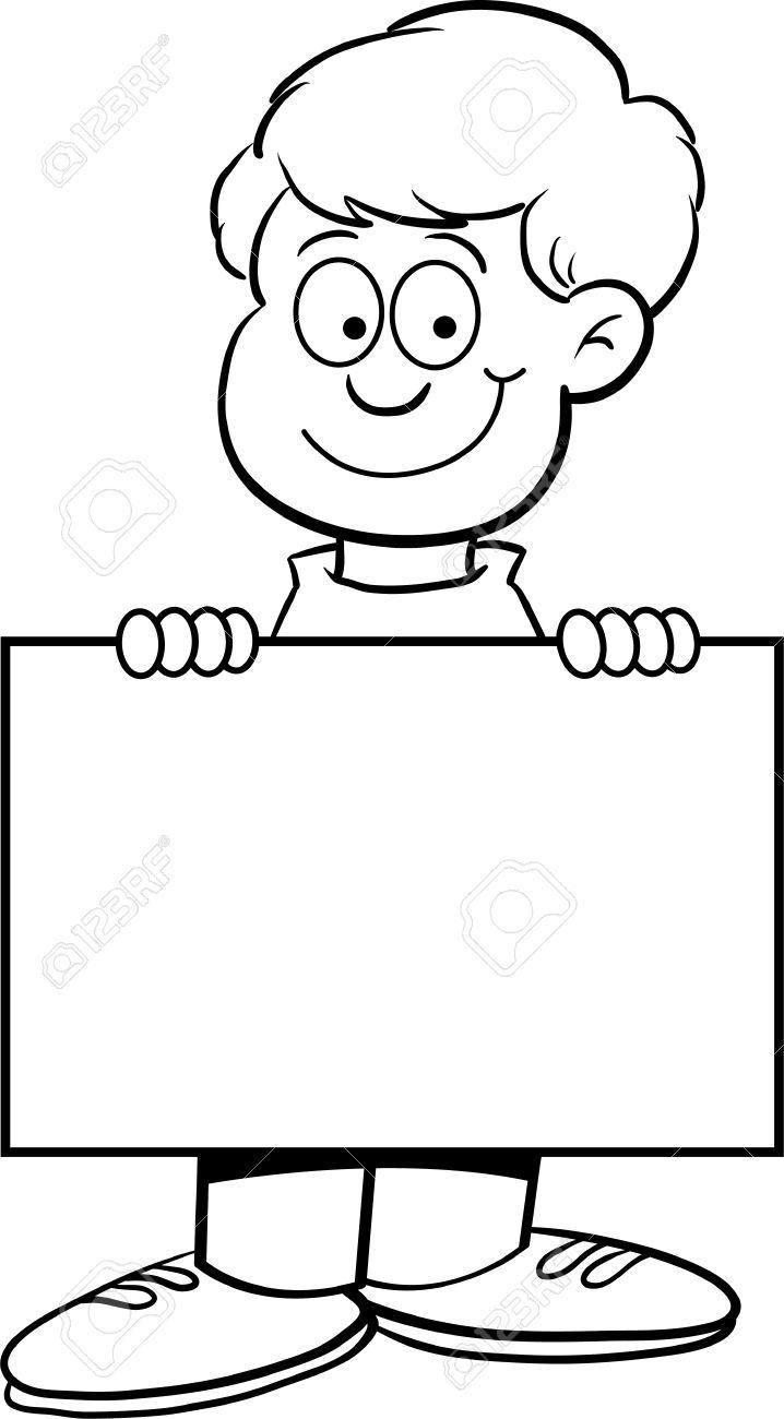 Ilustración En Blanco Y Negro De Un Niño Con Un Cartel Ilustraciones ...
