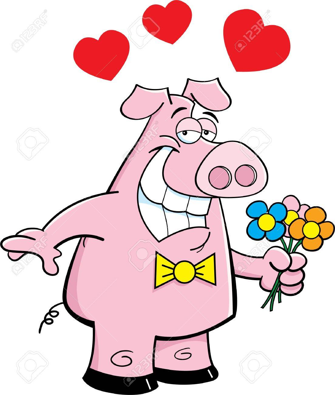 Cartoon illustration of a pig holding flowers Stock Vector - 14847864