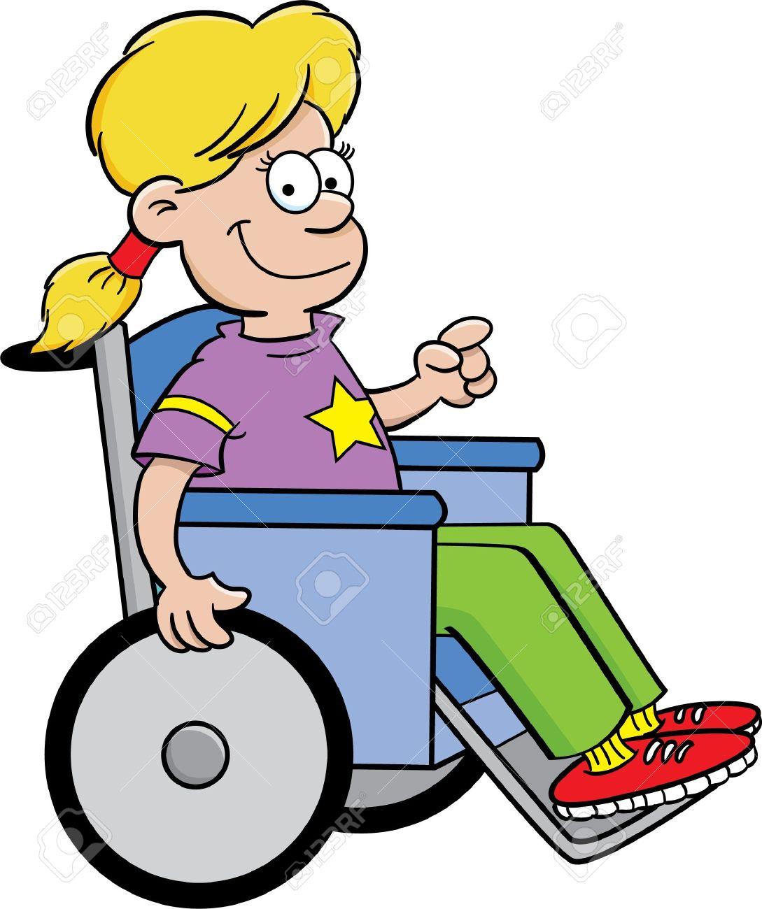 Cartoon illustration of a girl in a wheelchair Stock Vector - 14960802