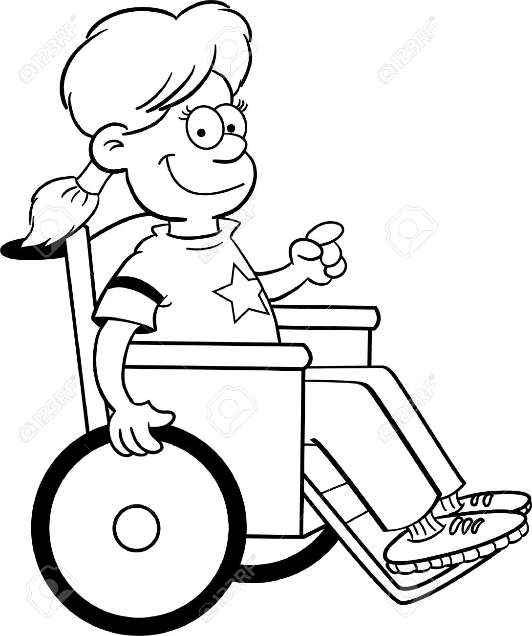 imagenes de niños en silla de ruedas para colorear