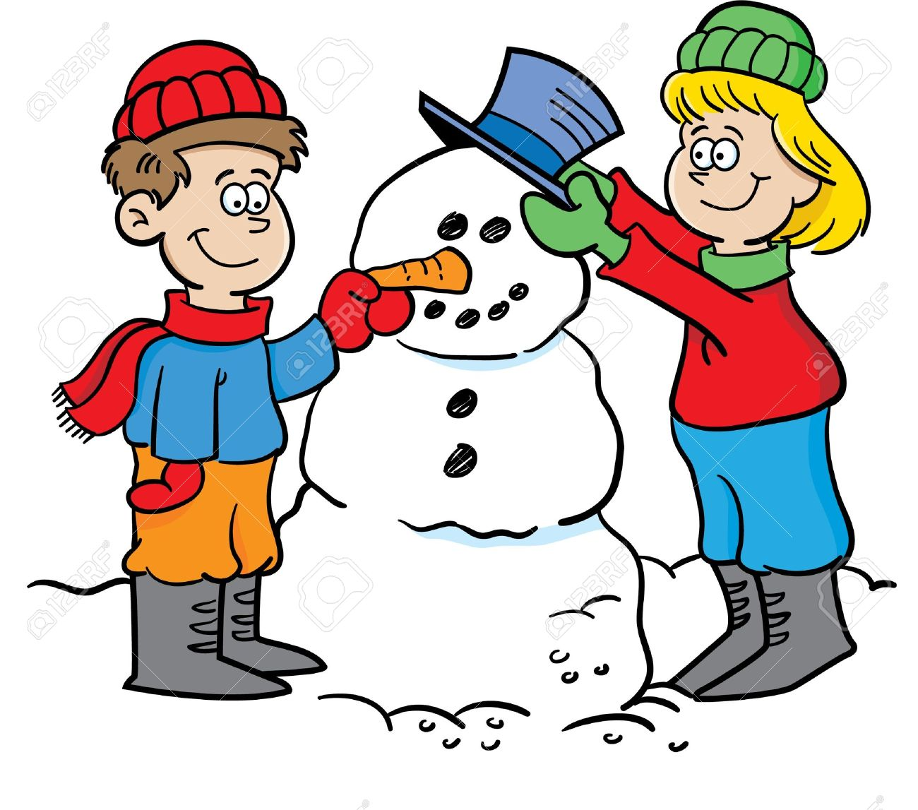 Cartoon illustration of two children building a snowman Stock Vector - 14989127