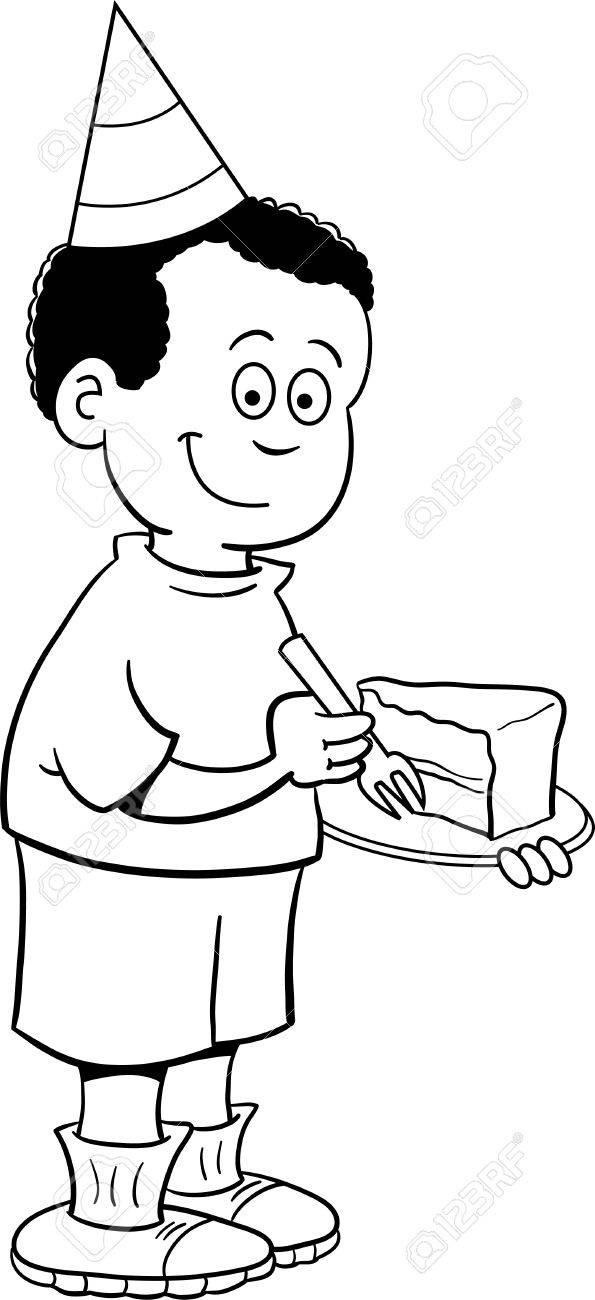 Ilustración Blanco Y Negro De Un Niño Que Llevaba Un Sombrero De ...
