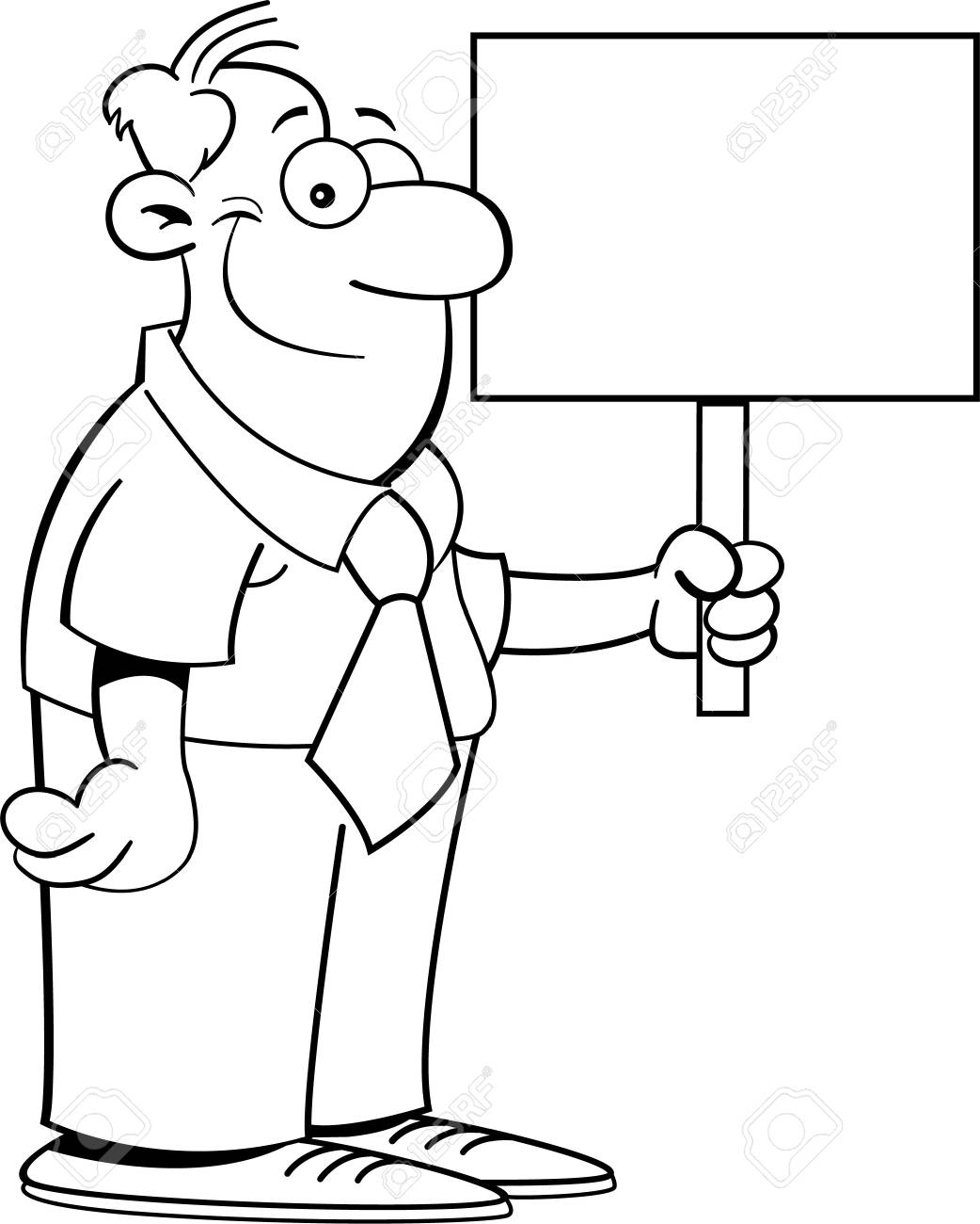 Black and white illustration of a businessman holding a sign Stock Vector - 15041814