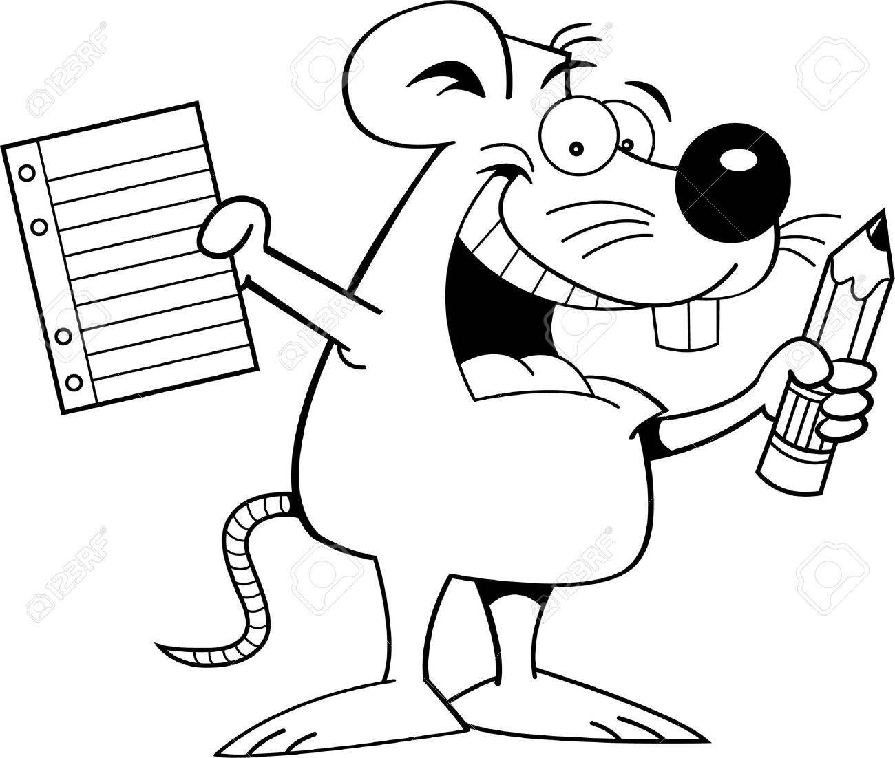 Schule clipart schwarz weiß  Schwarz-Weiß-Darstellung Einer Maus Mit Einem Papier Und Bleistift ...