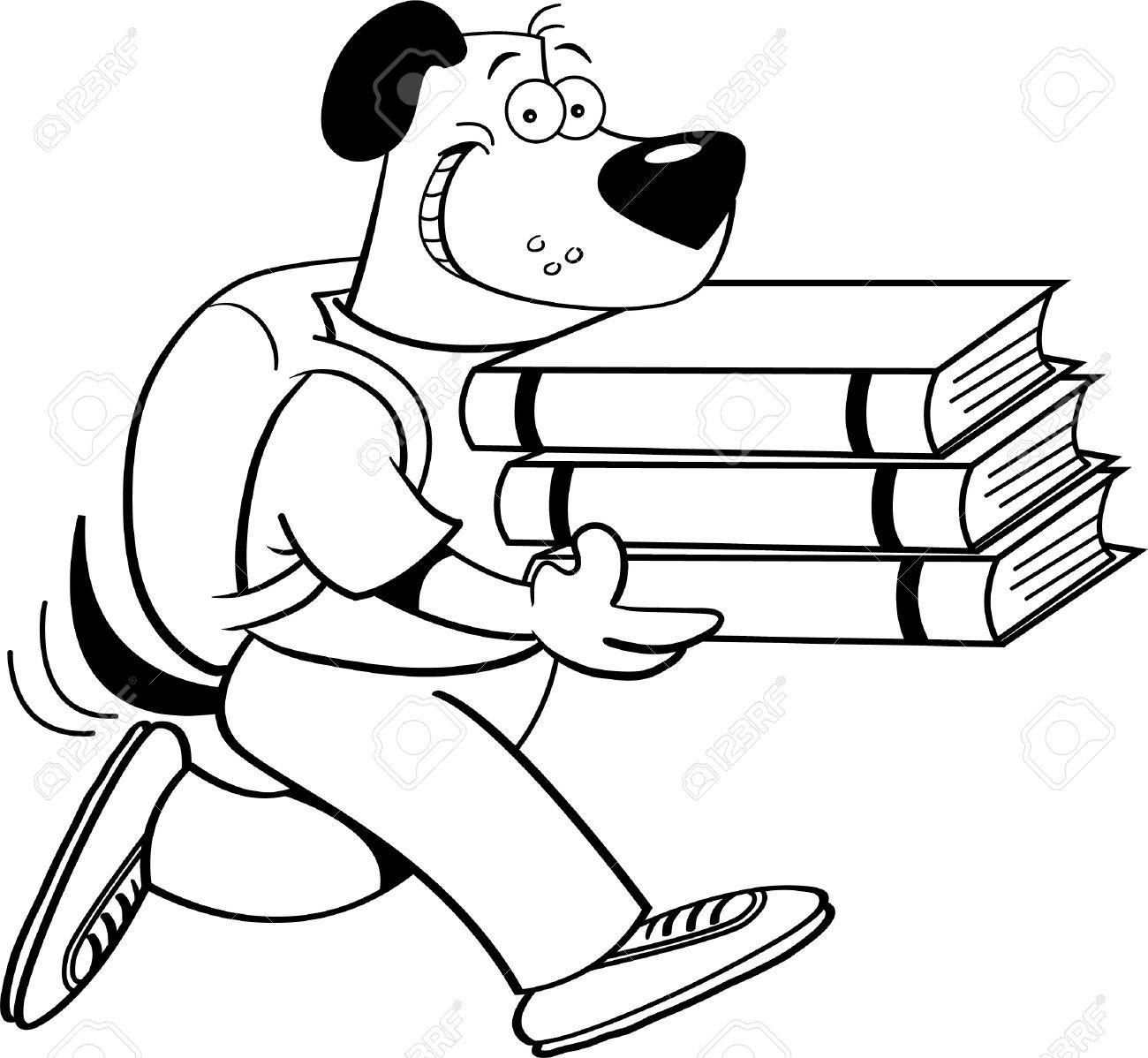 Black and white illustration of a dog carrying books Stock Vector - 15114936