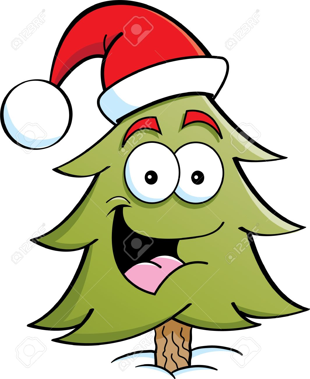 Cartoon illustration of a pine tree wearing a Santa hat Stock Vector - 15259451