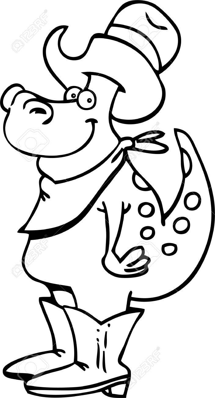 Black and white illustration of a dinosaur wearing a cowboy hat and boots Stock Vector - 15333836