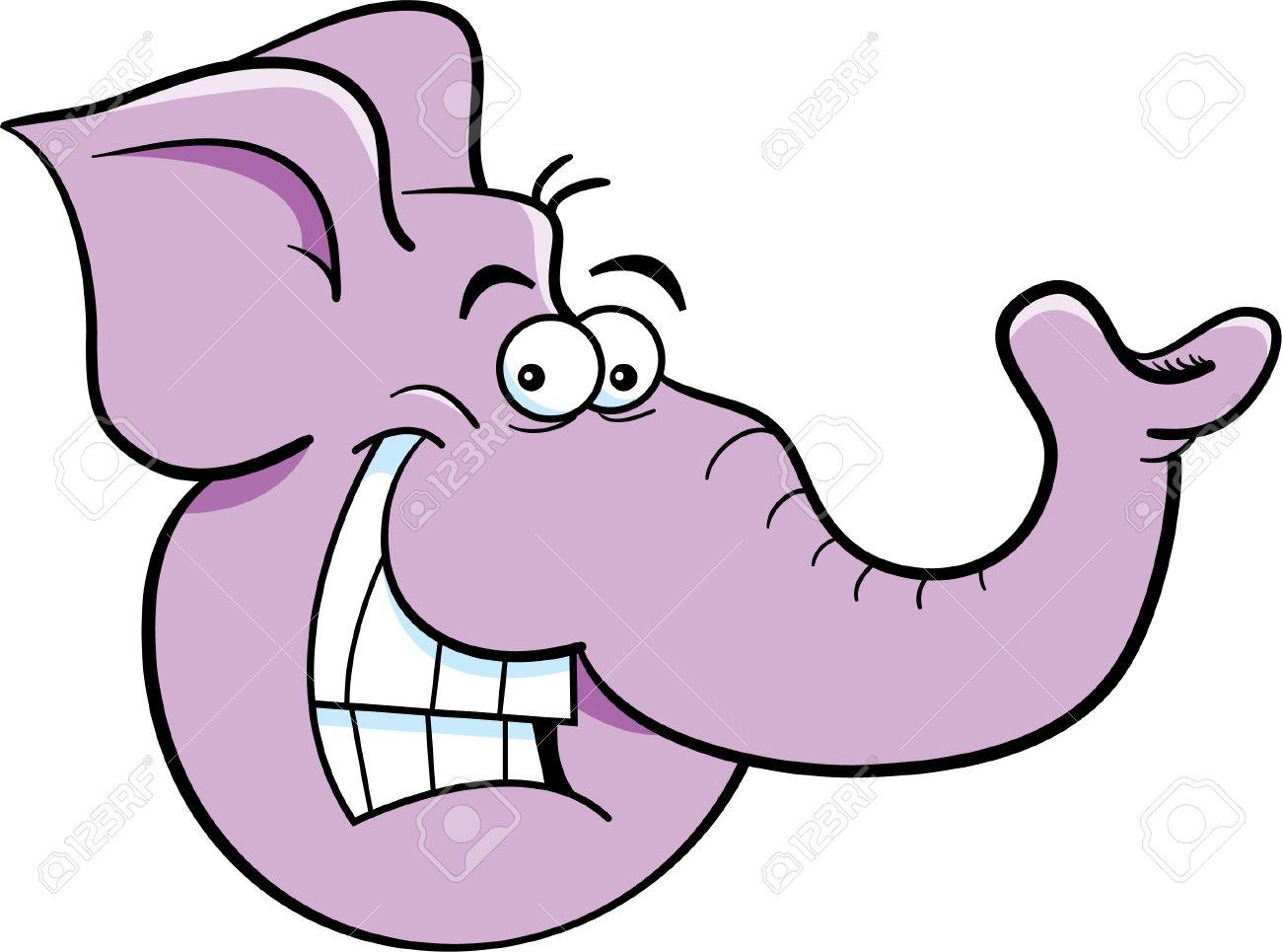 cartoon illustration of an elephant head royalty free cliparts rh 123rf com Elephant Face Cartoon cartoon elephant head outline