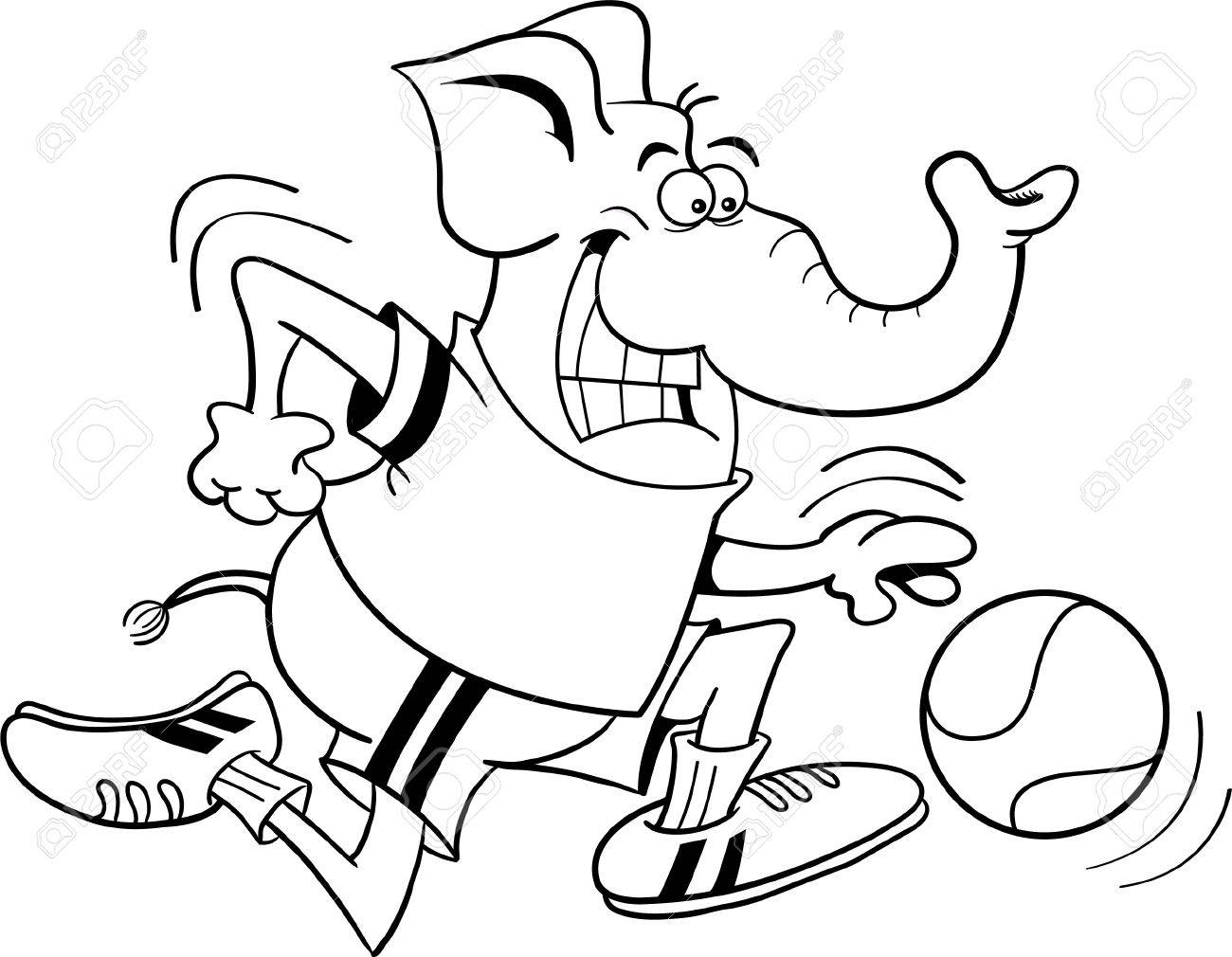 black and white illustration of an elephant playing basketball