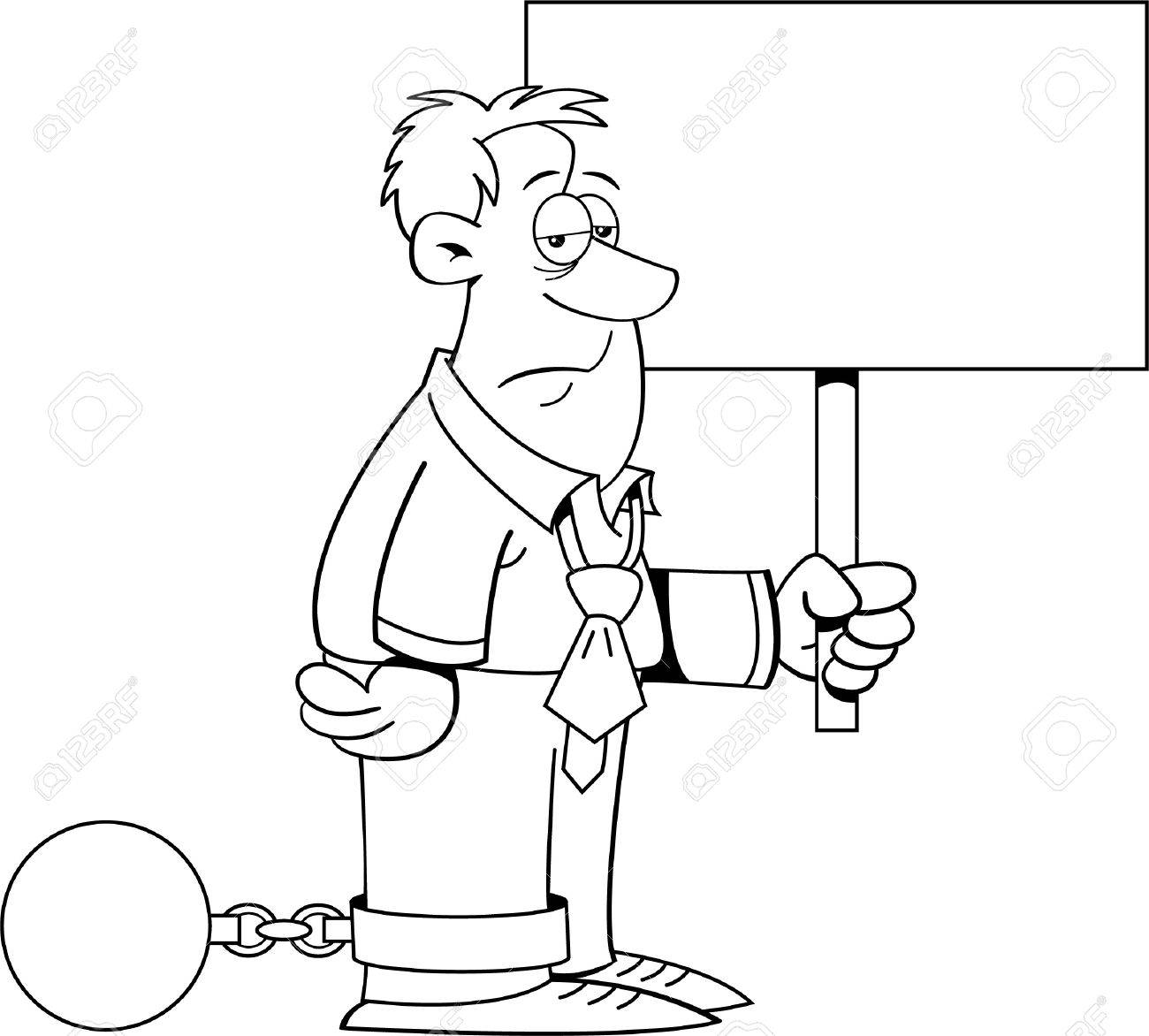 Black and white illustration of a man wearing a ball and chain and holding a sign Stock Vector - 15984205