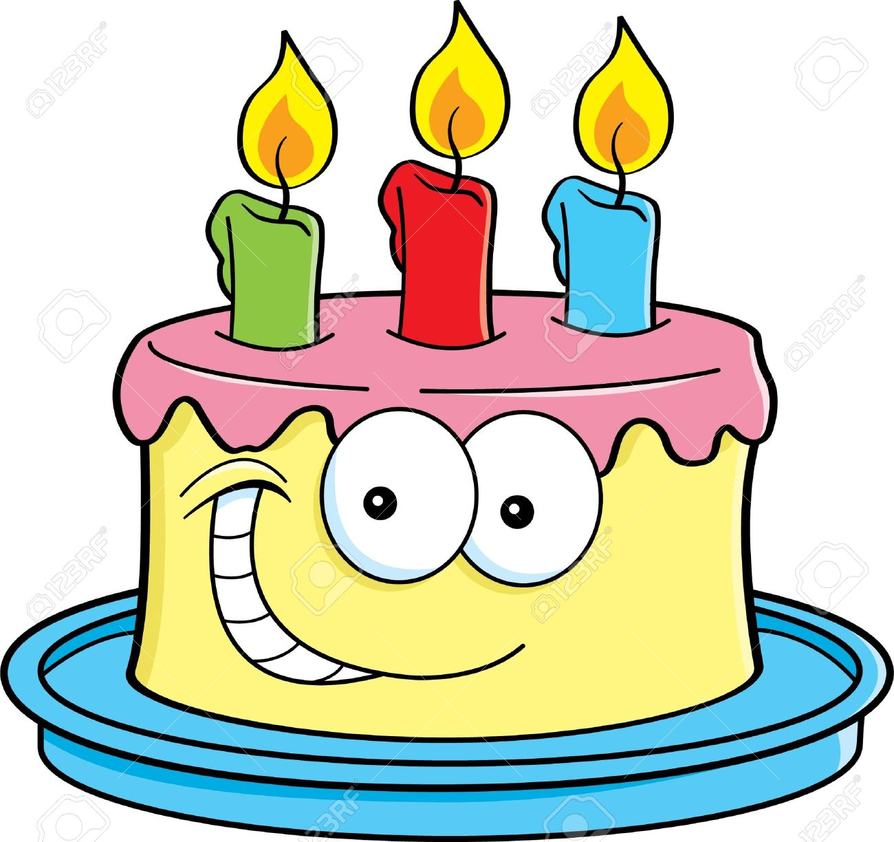 cartoon illustration of a cake with candles royalty free cliparts rh 123rf com cartoon cake images with name cartoon cake pictures
