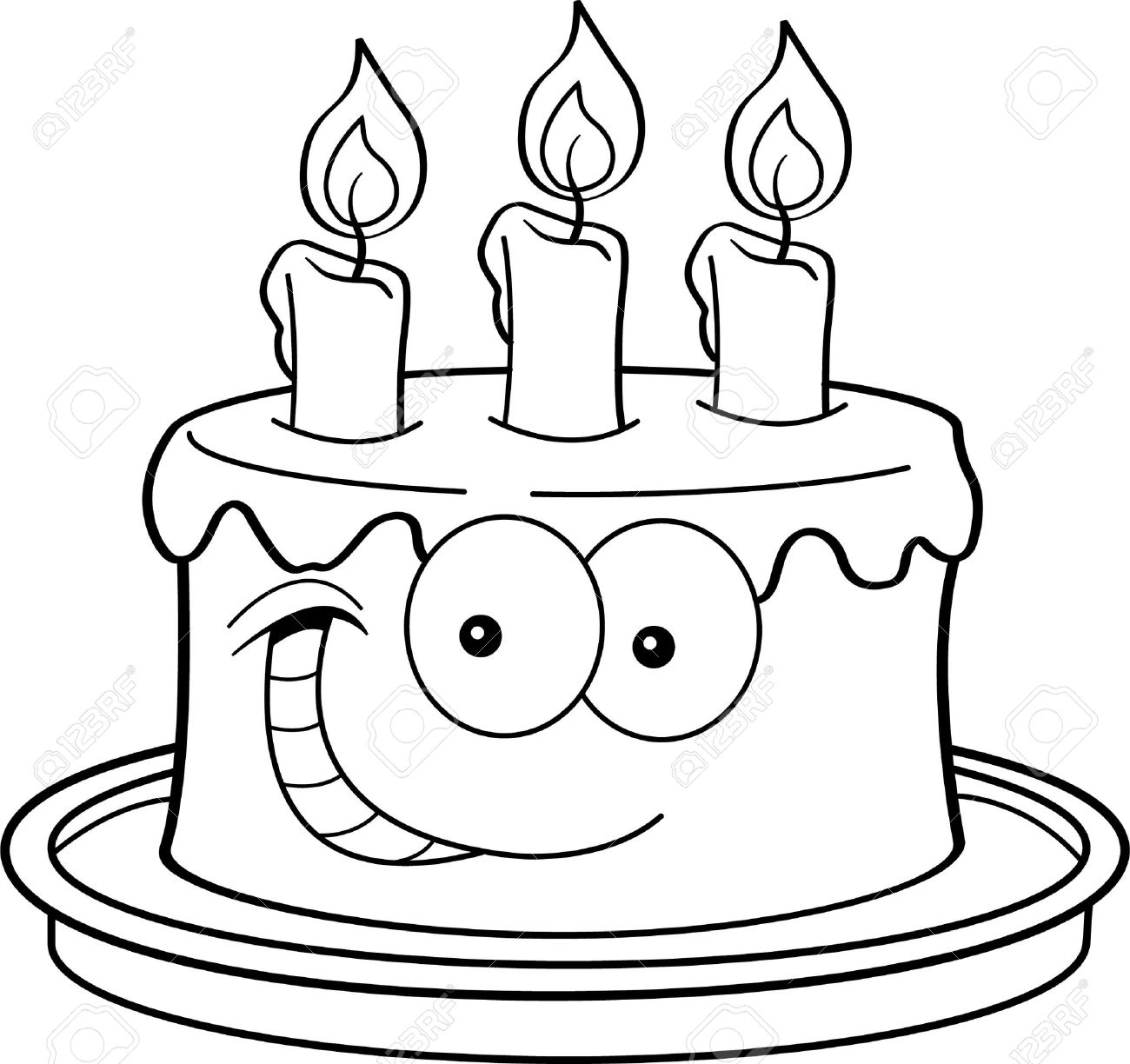 Black And White Illustration Of A Cake With Candles