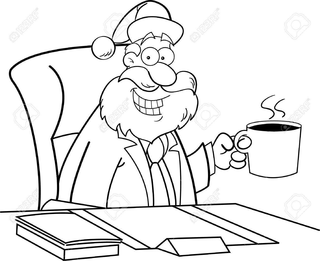 Immagini Di Babbo Natale In Bianco E Nero.Illustrazione In Bianco E Nero Di Babbo Natale In Un Vestito Di Affari Che Si Siede Ad Un Caffe Bevente Dello Scrittorio