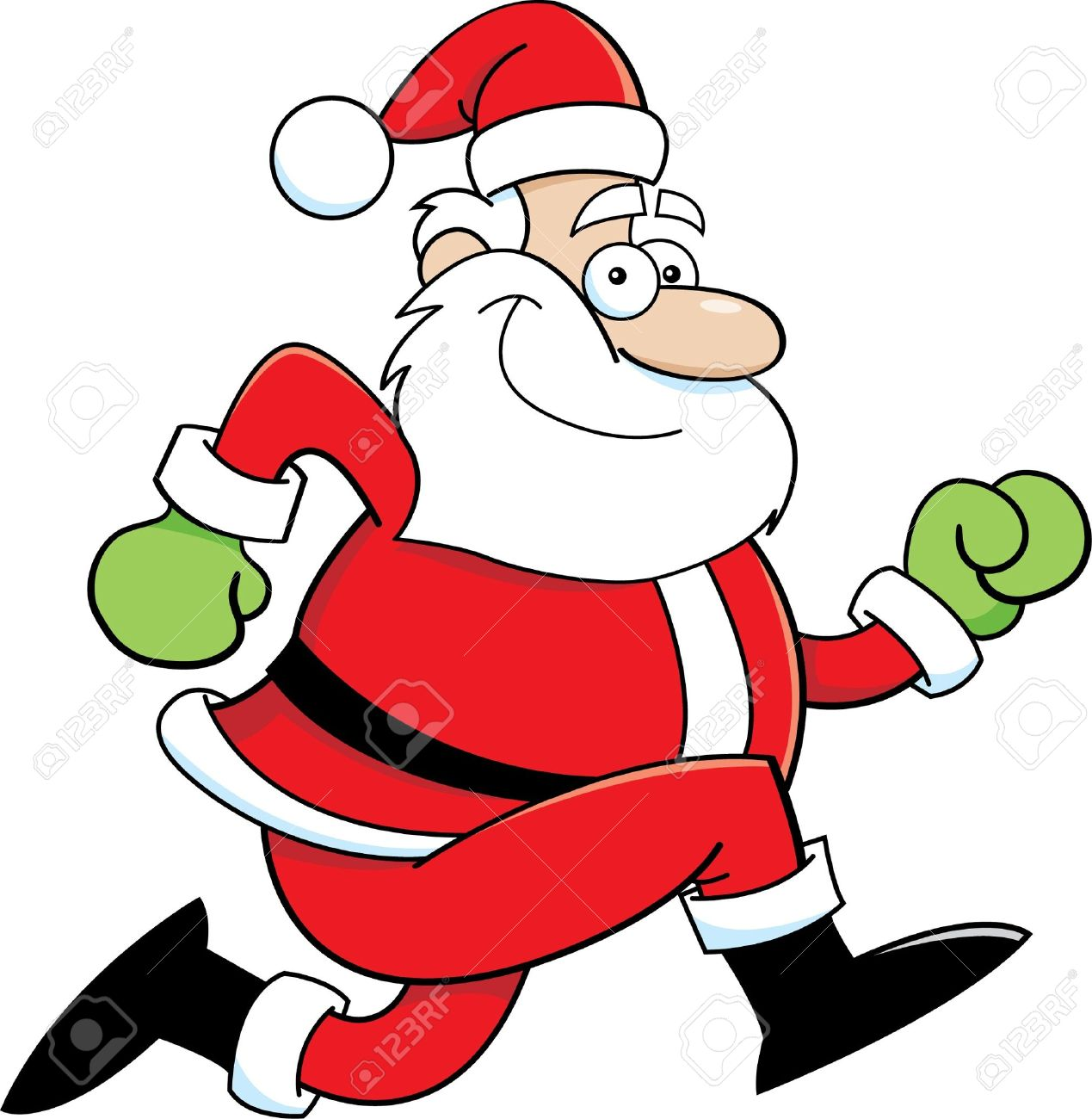 Cartoon illustration of Santa Claus running Stock Vector - 16452730
